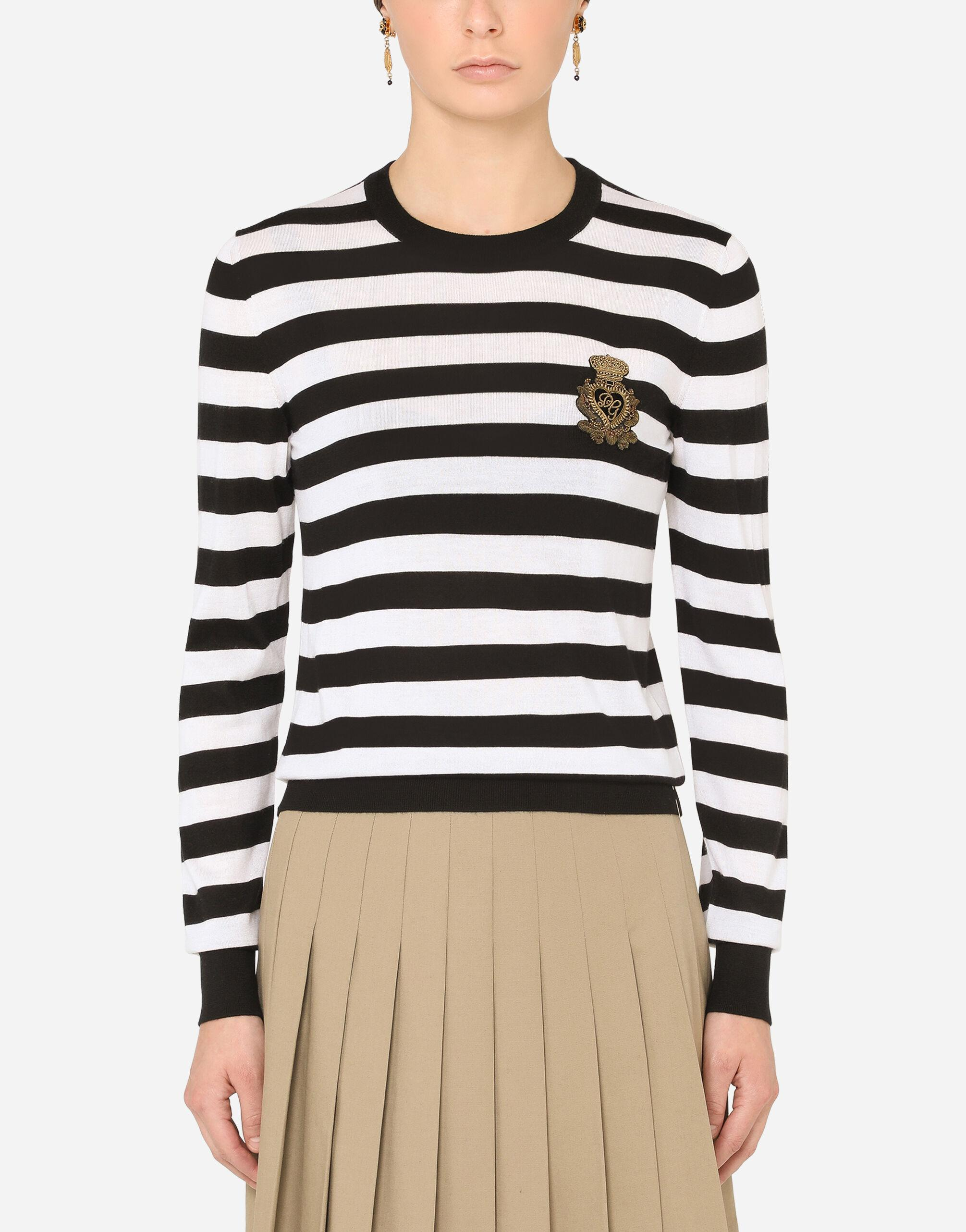 Striped crew-neck sweater in silk and cashmere with logo detail 0