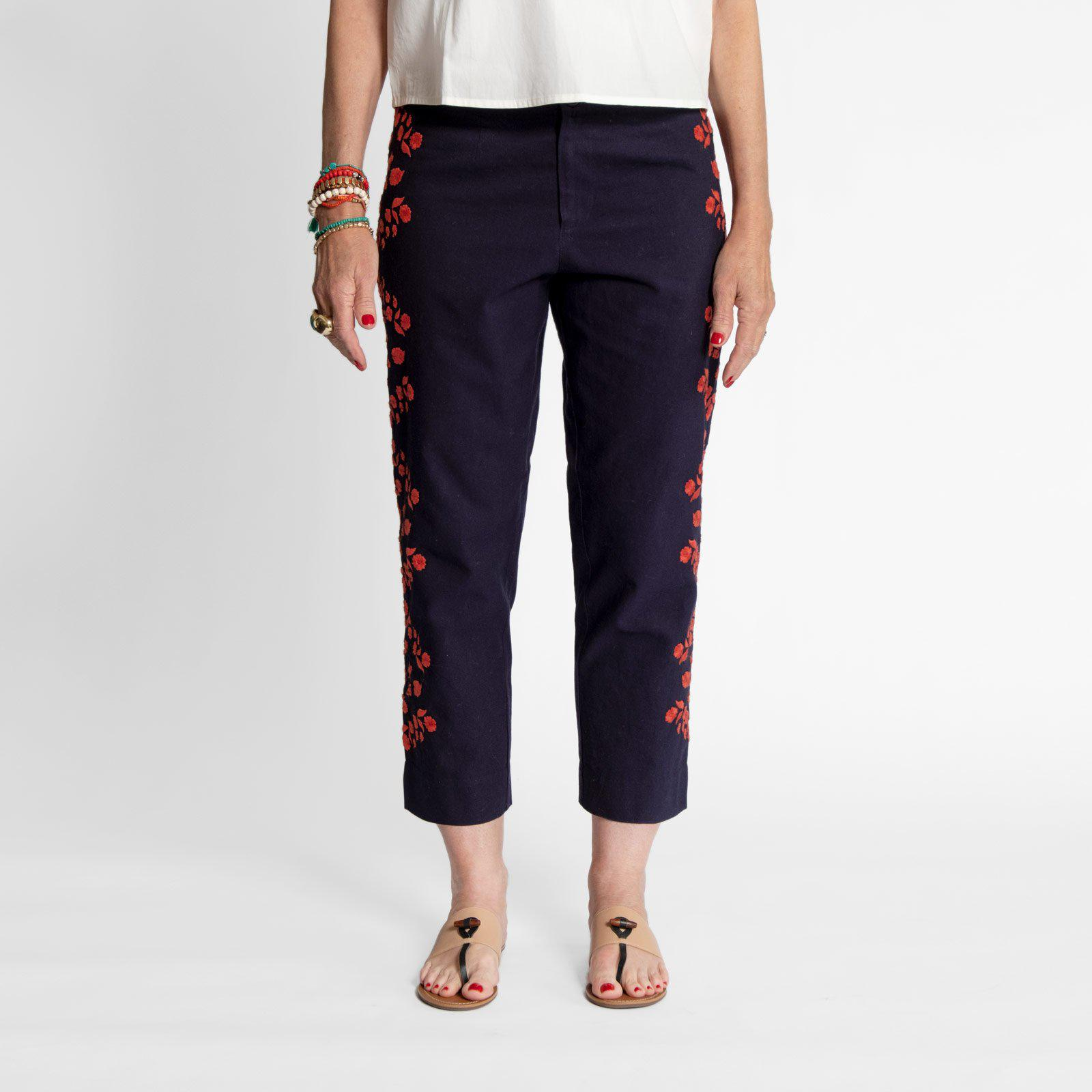Floral Embroidered Pant Navy Red 1