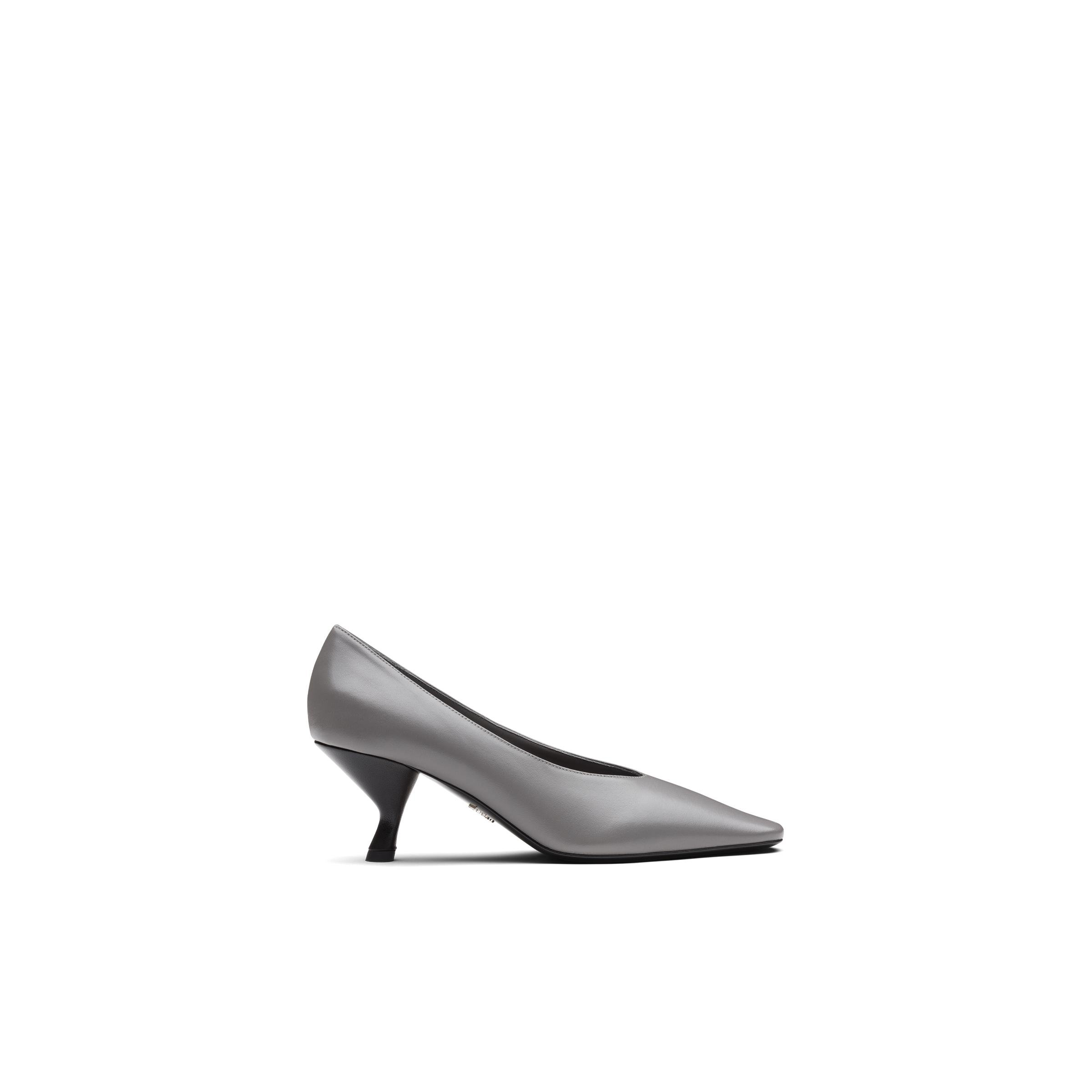 Pointy Toe Nappa Leather Pump With Medium Heel Women Marble Gray 2