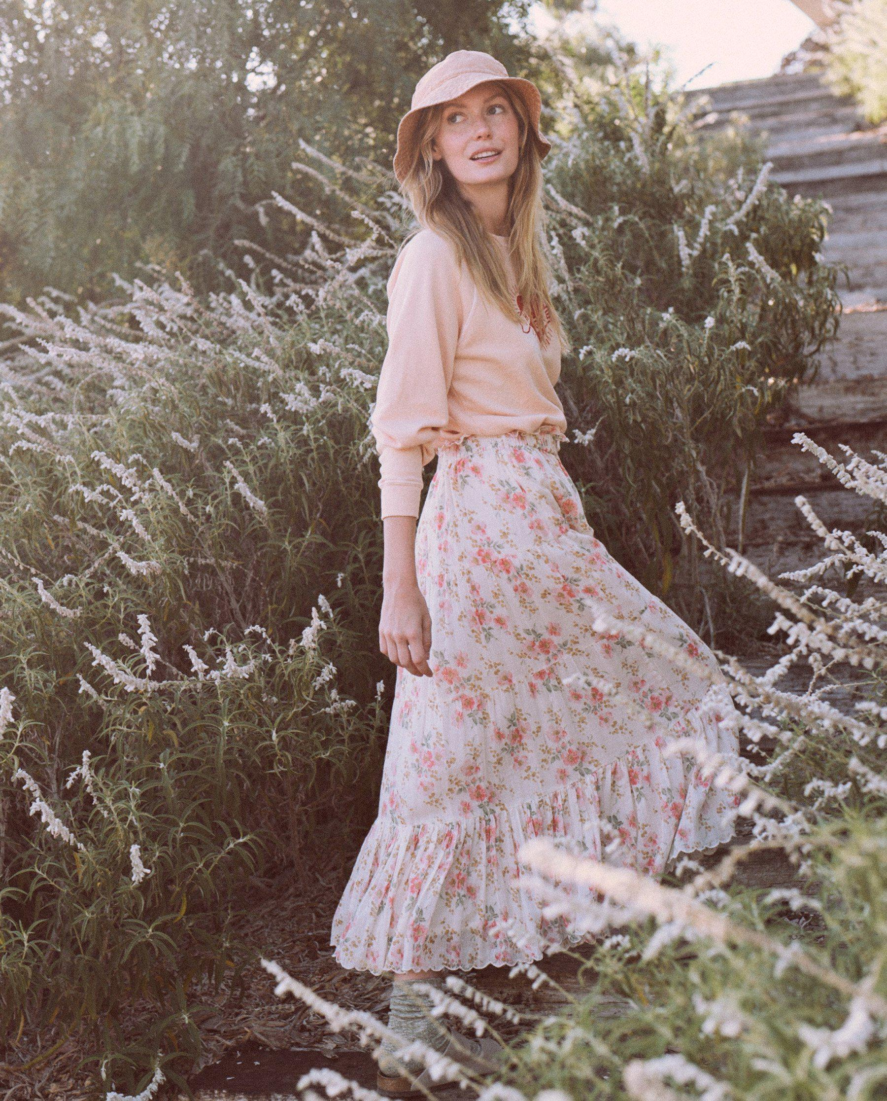 The Button Up Tier Skirt. -- Pink Sweet Pea Floral 3