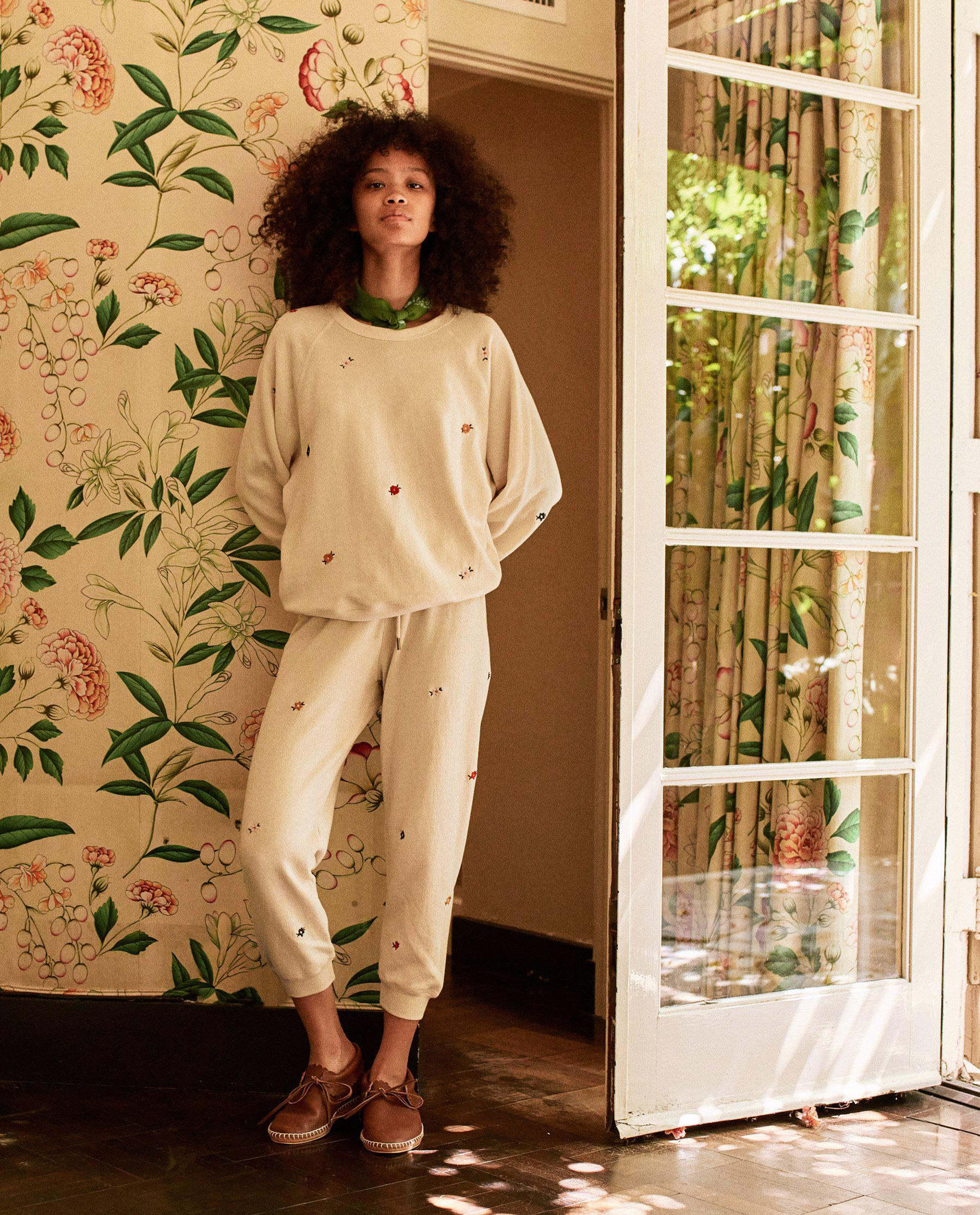 The Cropped Sweatpant. Embroidered -- Washed White with Seed Floral Embroidery