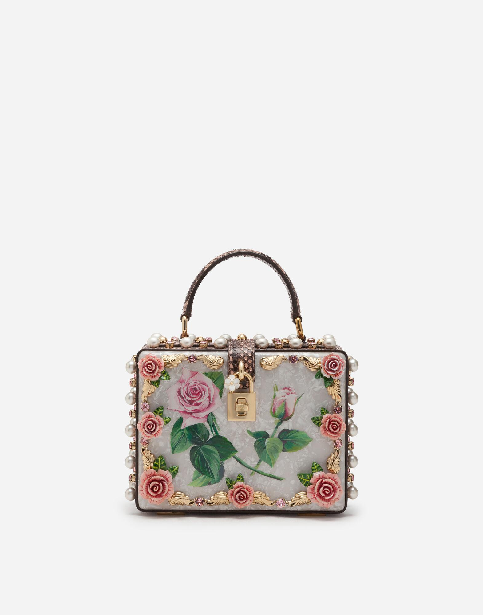 Mother-of-pearl Dolce Box bag with jewel embroidery