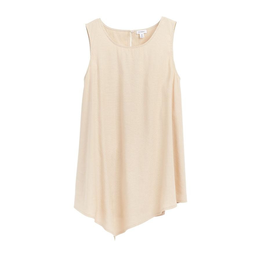 Women's Linen Draped-Front Shell Top in Sand | Size:
