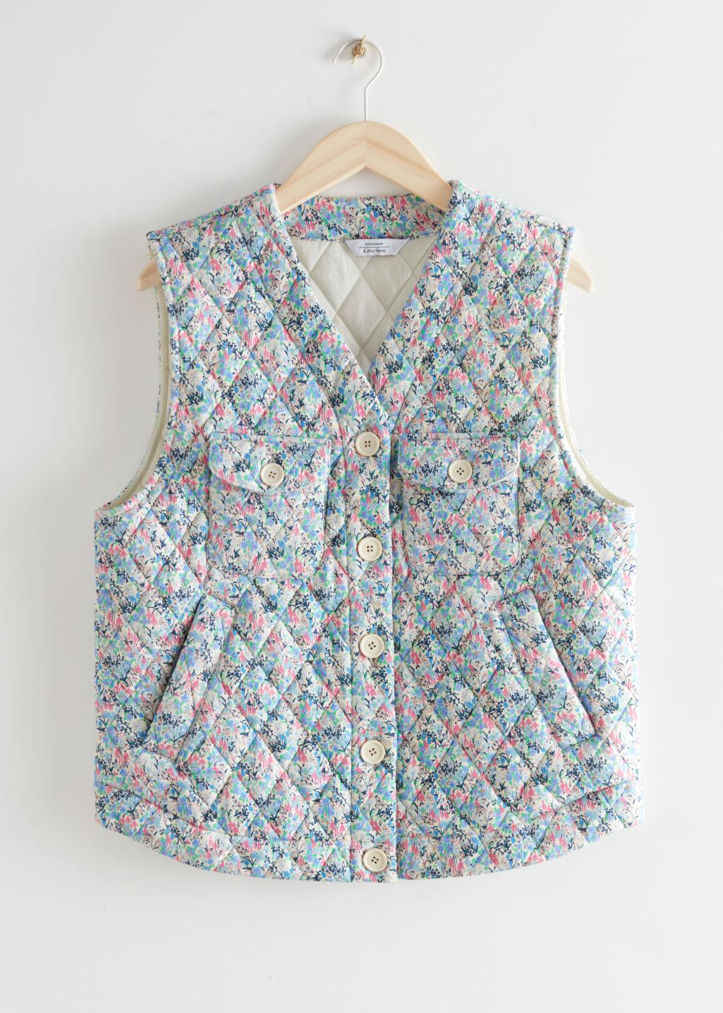 Buttoned Padded Floral Print Vest