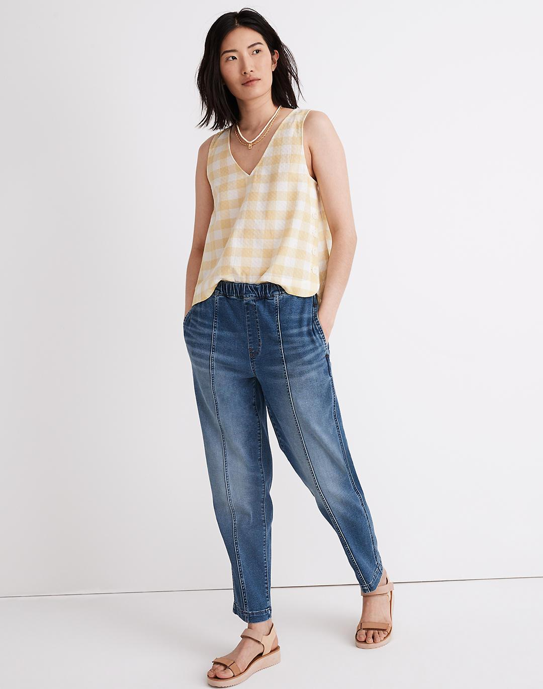 Pull-On Relaxed Jeans in Caville Wash: Seamed Edition