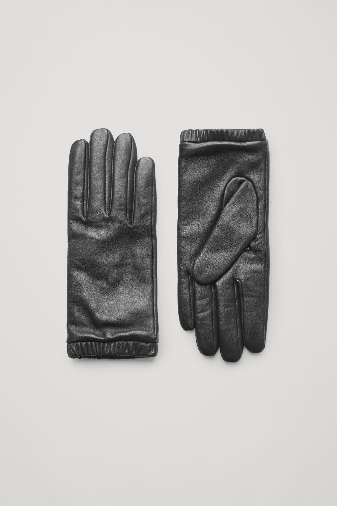 GATHERED LEATHER-CASHMERE GLOVES