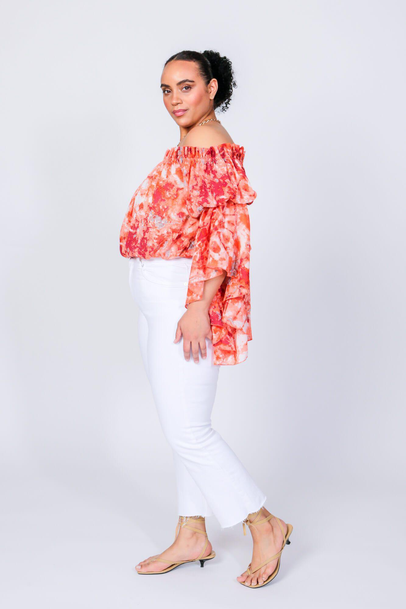 Red Swirl Brittney Off The Shoulder Bell Sleeve Top 3
