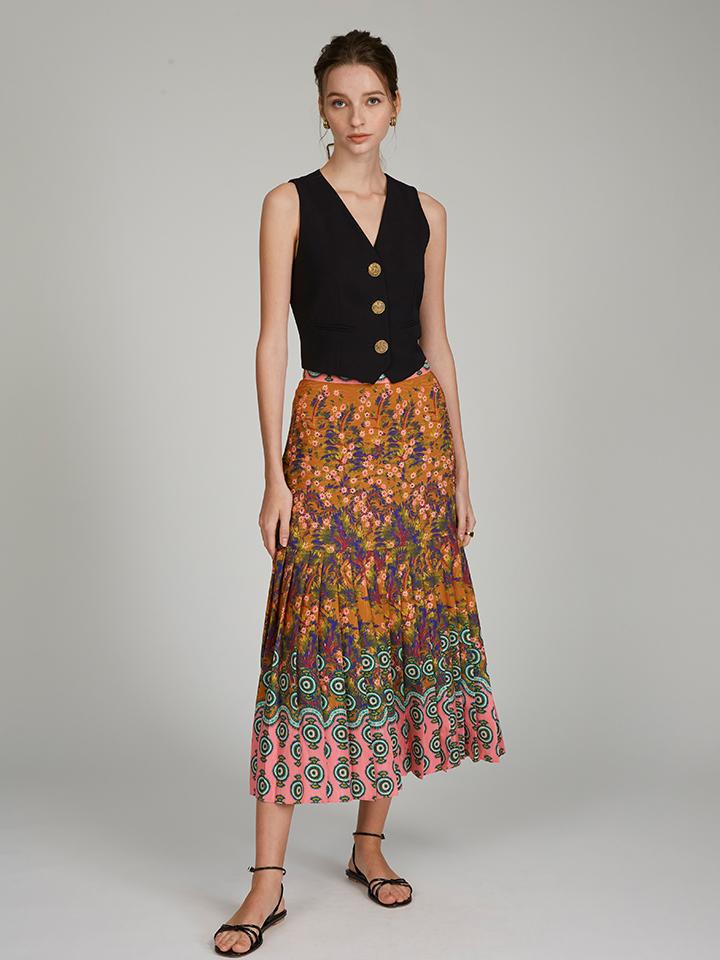 Diana E Skirt in Forest Jewel print