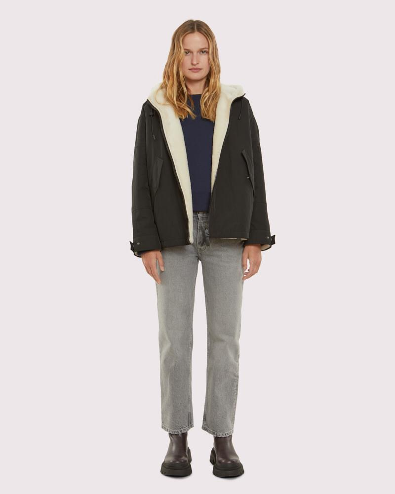 shearling reversible technical fabric cropped parka