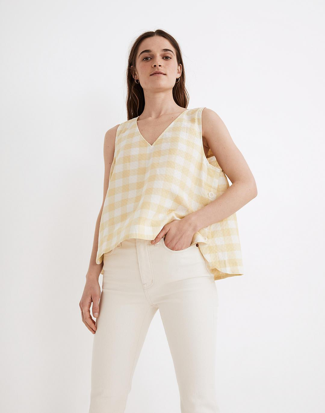 Side-Button Tank Top in Gingham Check