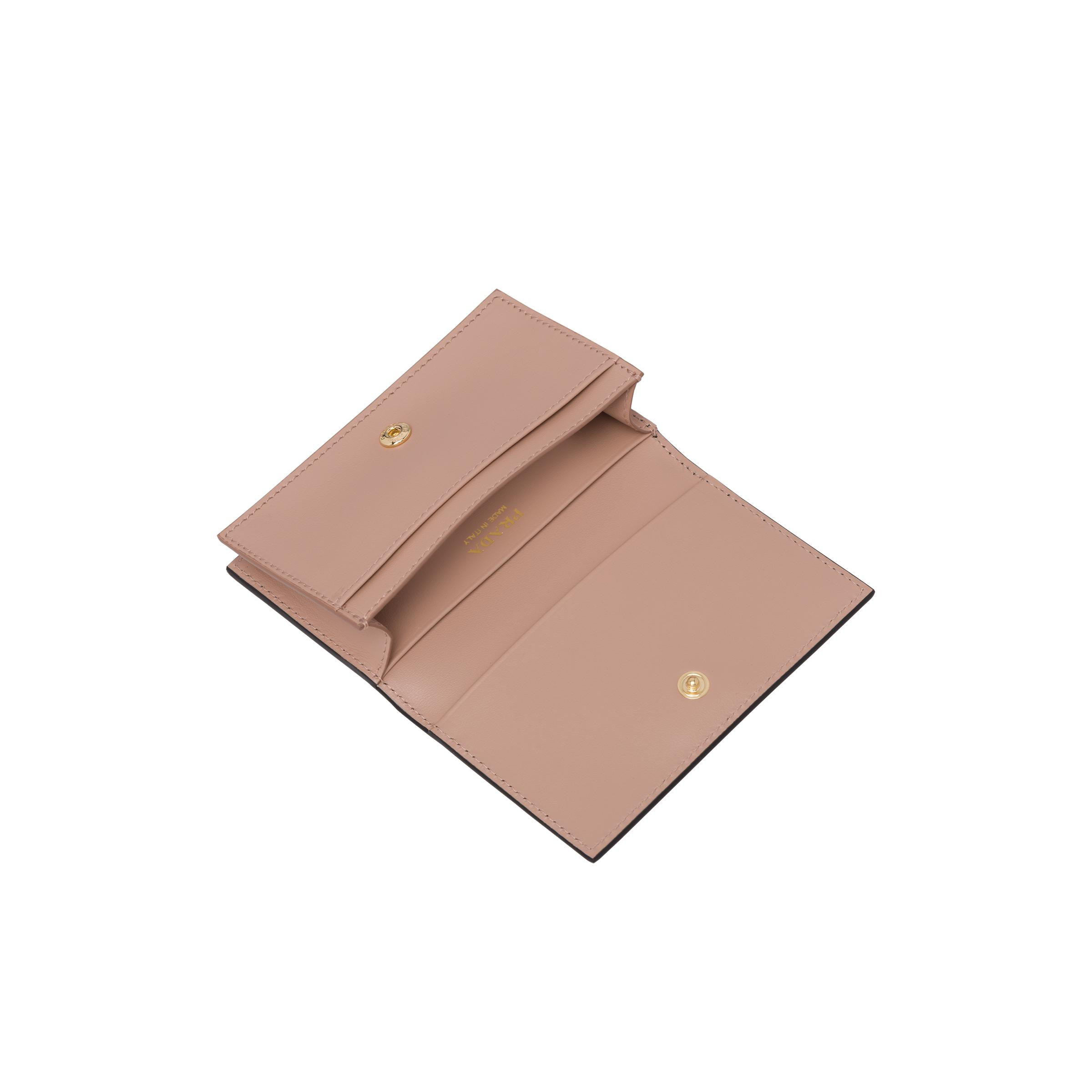 Saffiano Leather Card Holder With Bow Women Black/pale Pink 3