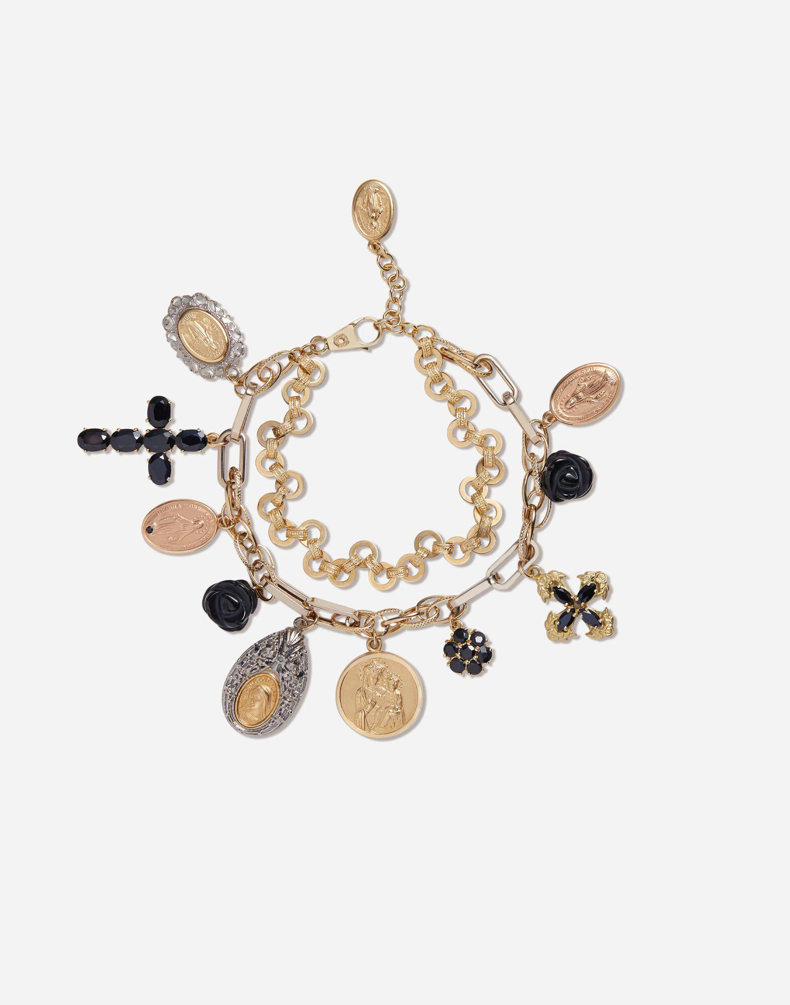 Yellow, white and red gold Devotion bracelet with black sapphire and black jade roses