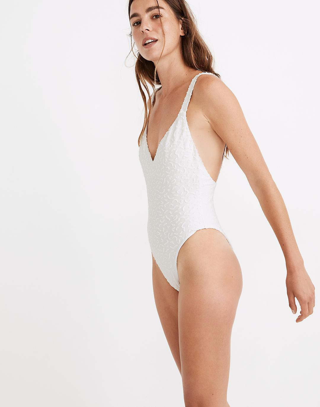 Madewell Maillot One-Piece Swimsuit in Bold Squiggles Jacquard 1