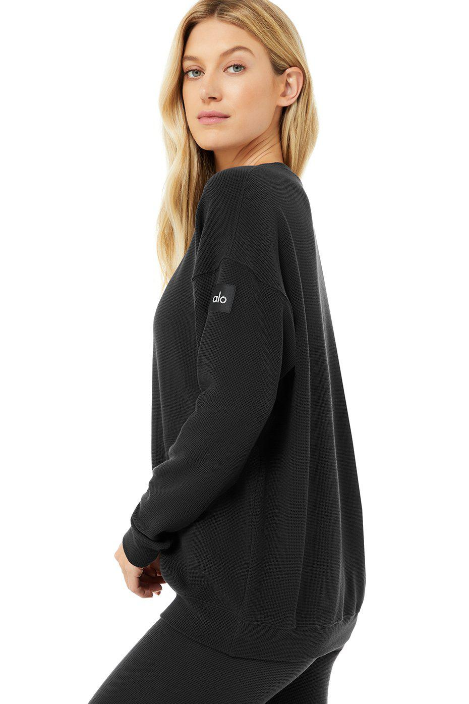 Micro Waffle Relaxation Pullover - Black 4