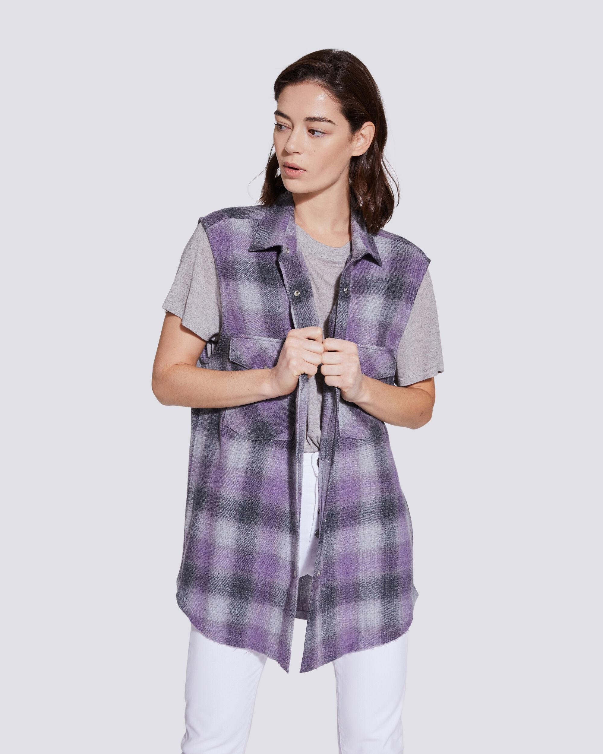 DONE RELAXED PLAID FLANNEL SLEEVELESS SHIRT