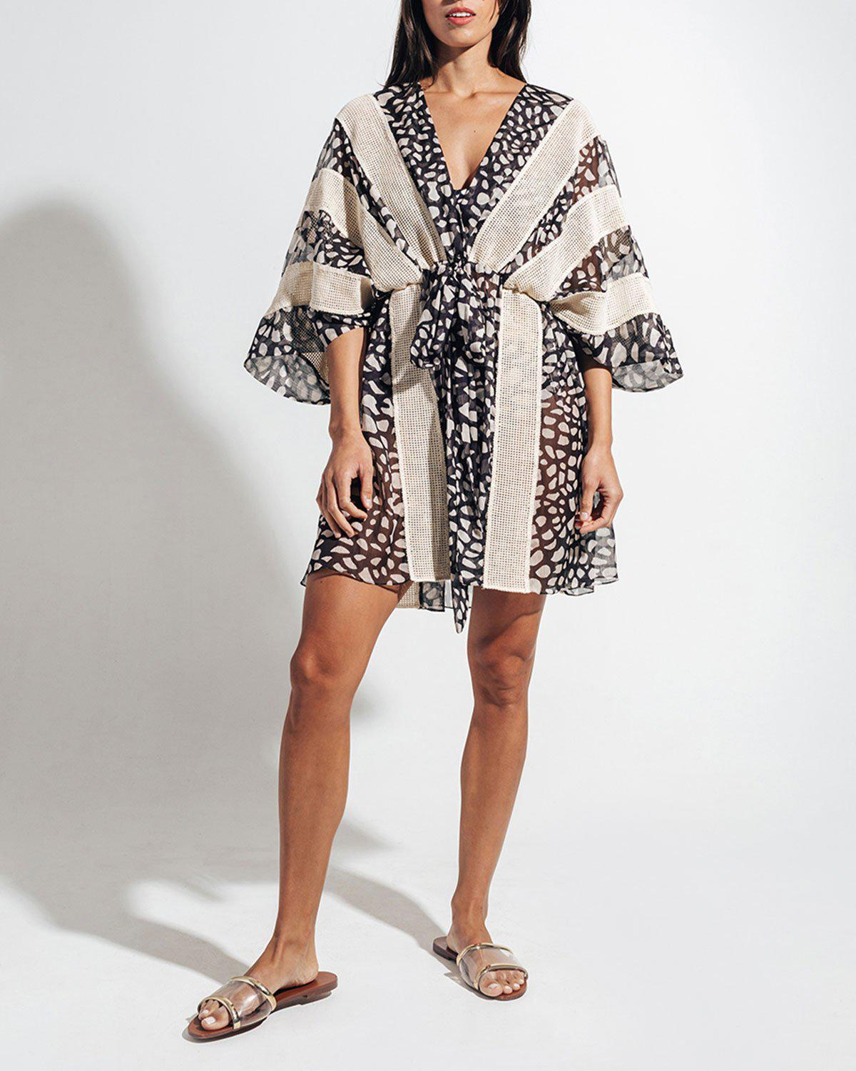 SPOTTED LACE TRIM COVERUP