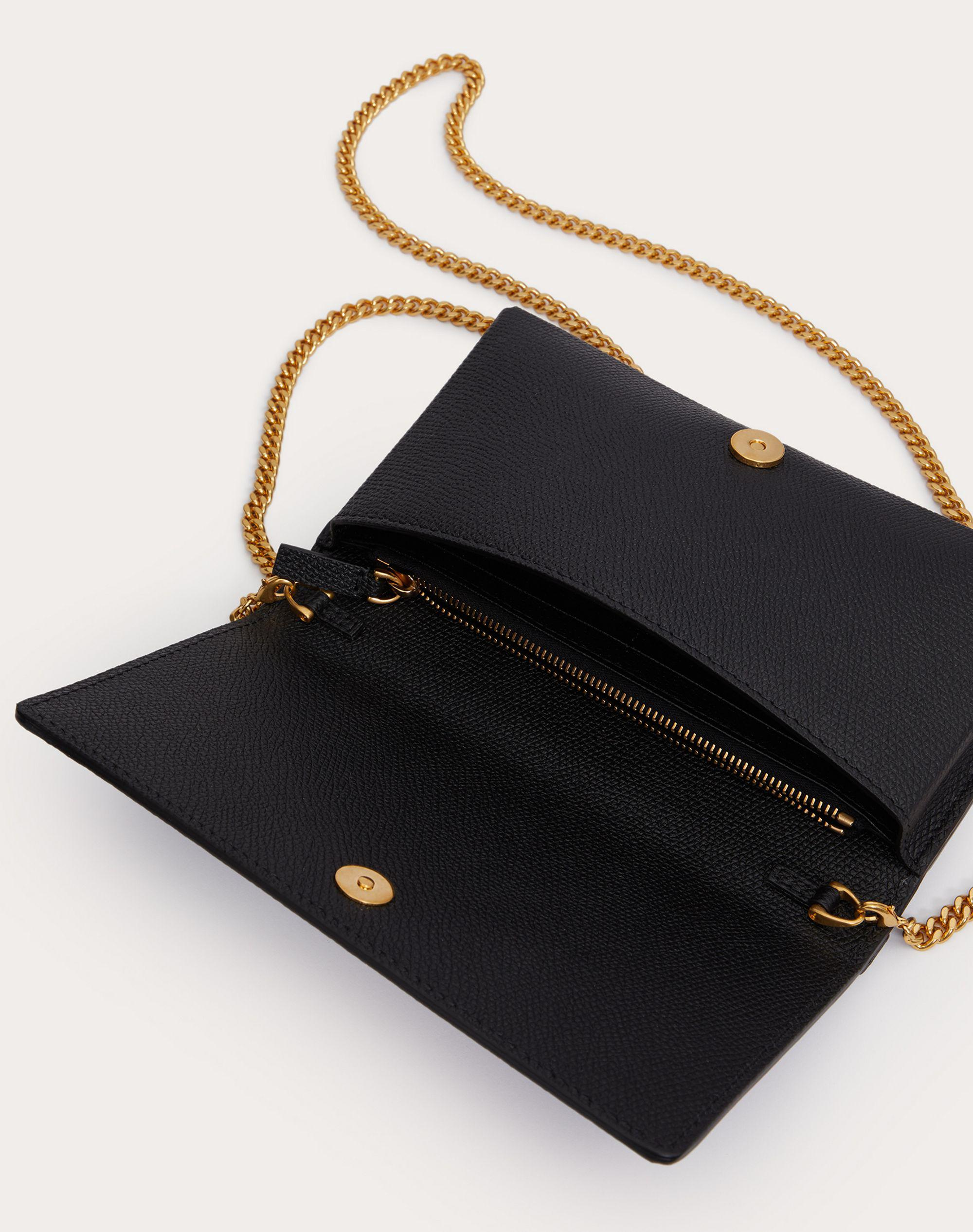 VLOGO SIGNATURE GRAINY CALFSKIN WALLET WITH CHAIN 4