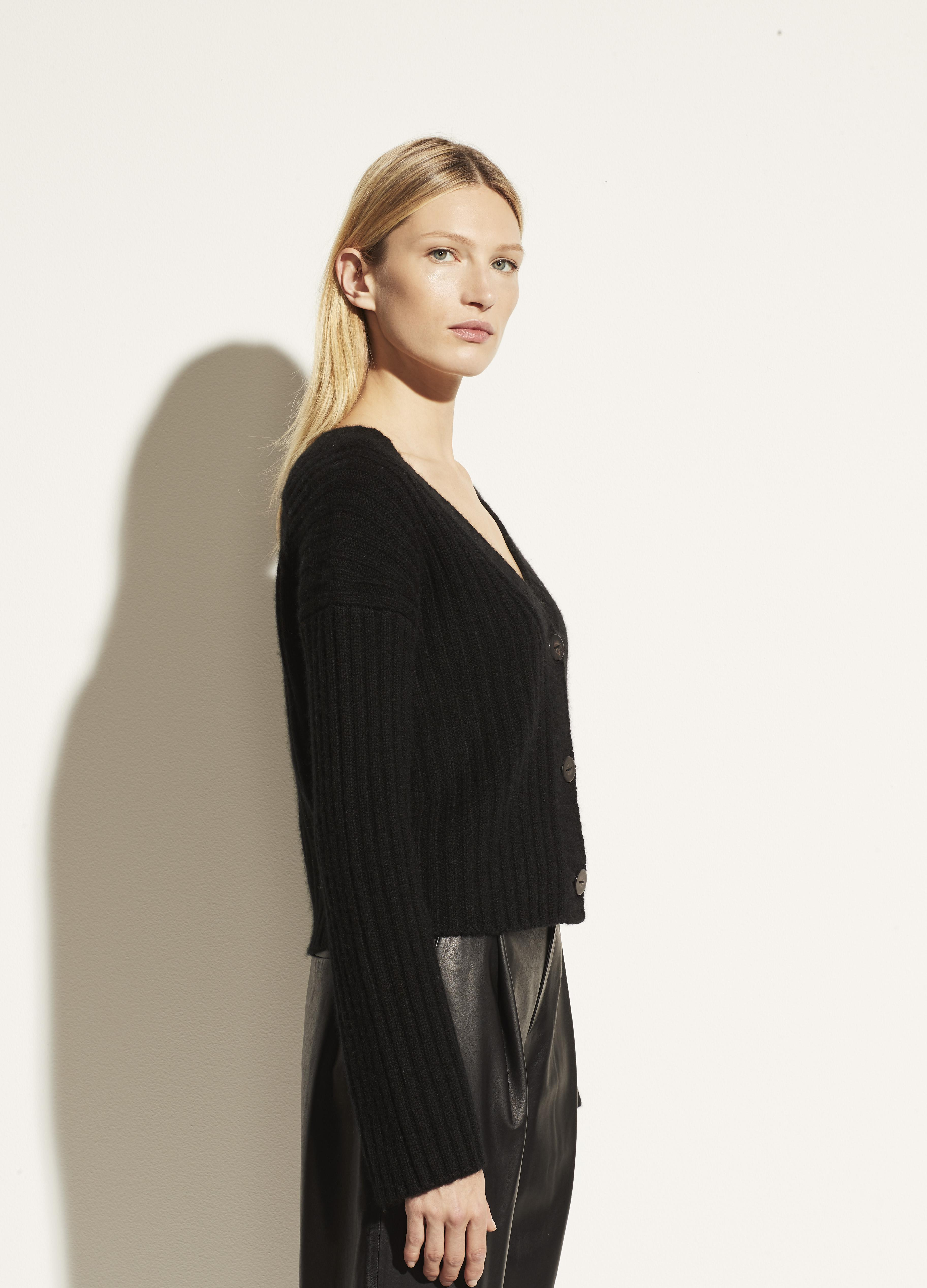 Open Neck Ribbed Cashmere Cardigan 1