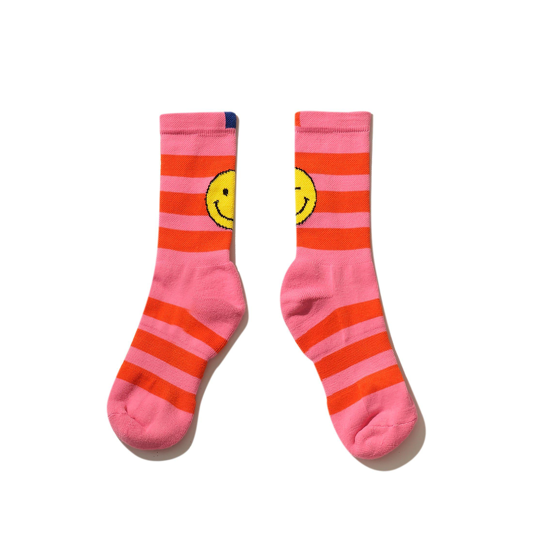 The Women's Rugby Wink Face Sock - Pink/Poppy