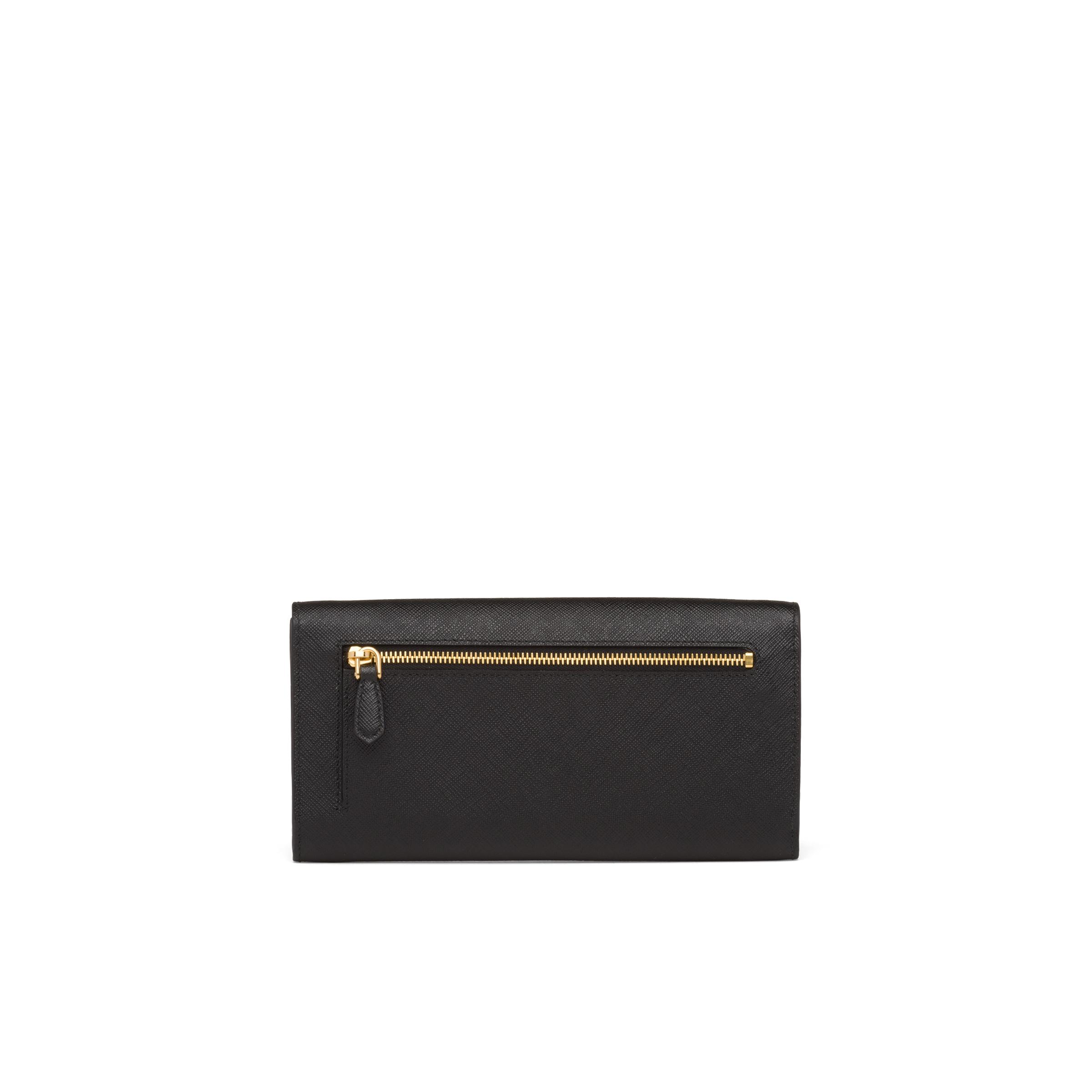 Saffiano Leather Wallet With Shoulder Strap Women Black 3