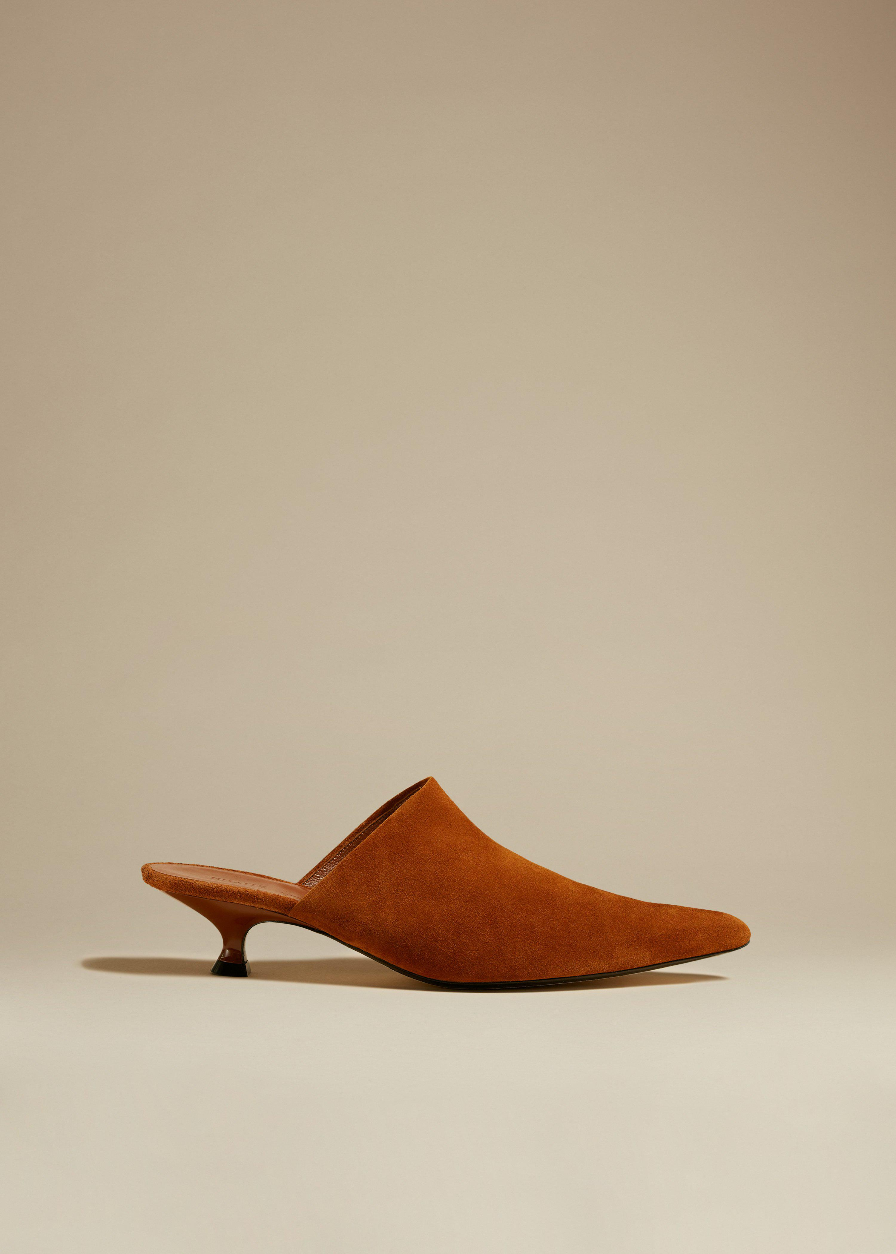 The Volosa Mule in Caramel Suede