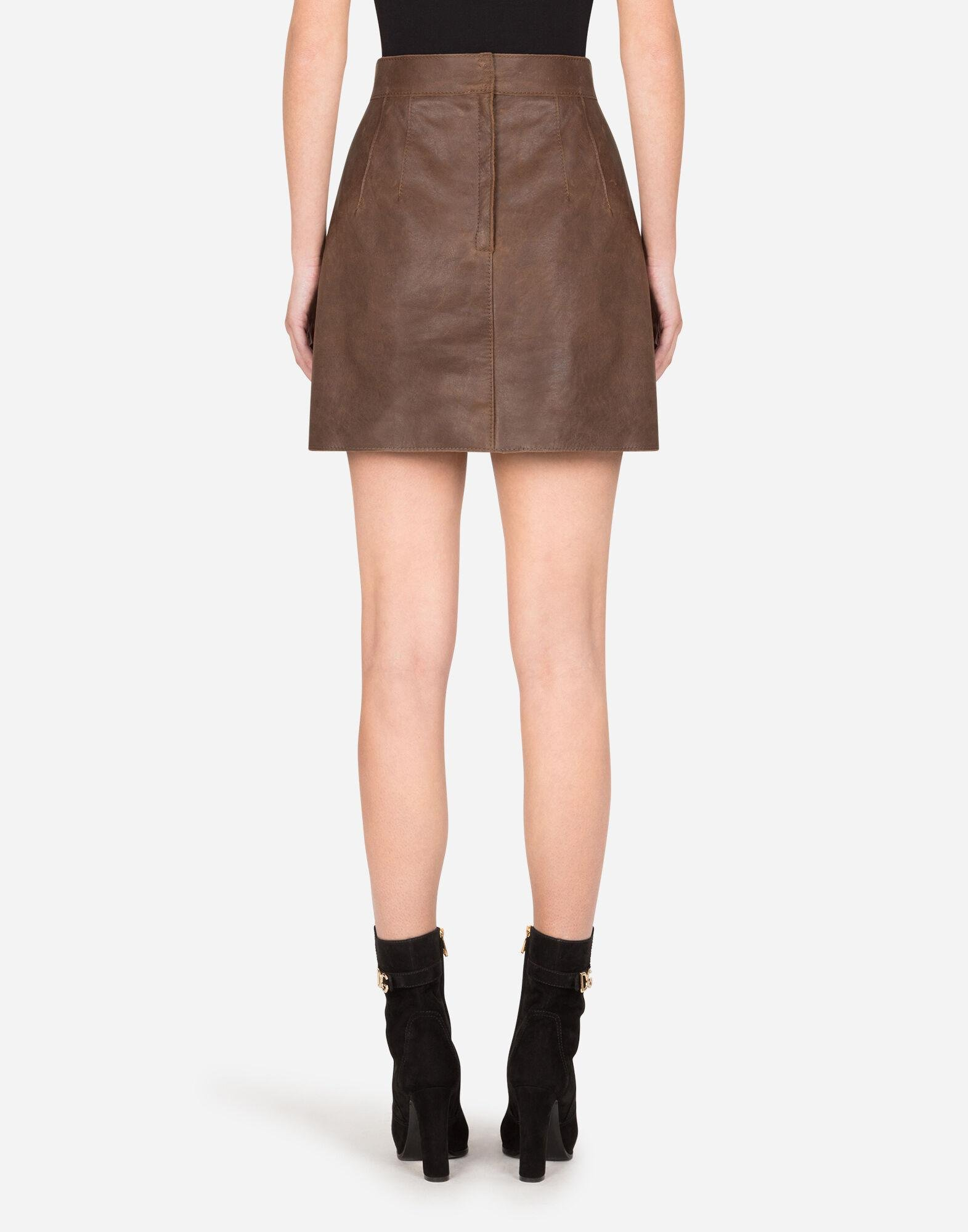 A-line miniskirt in hammered nappa leather 1