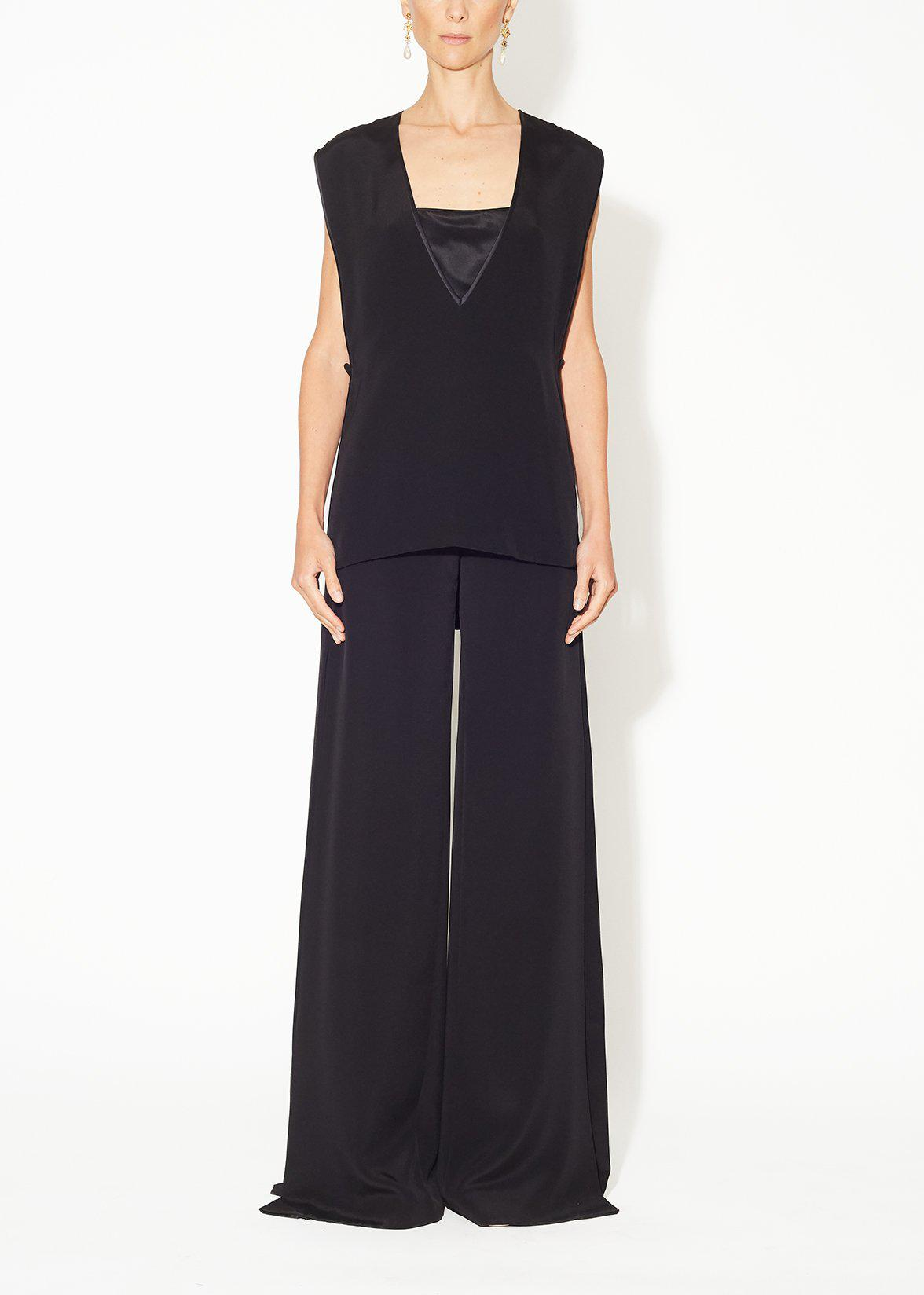 WIDE-LEG PANT WITH CHIFFON INSET IN SILK CREPE