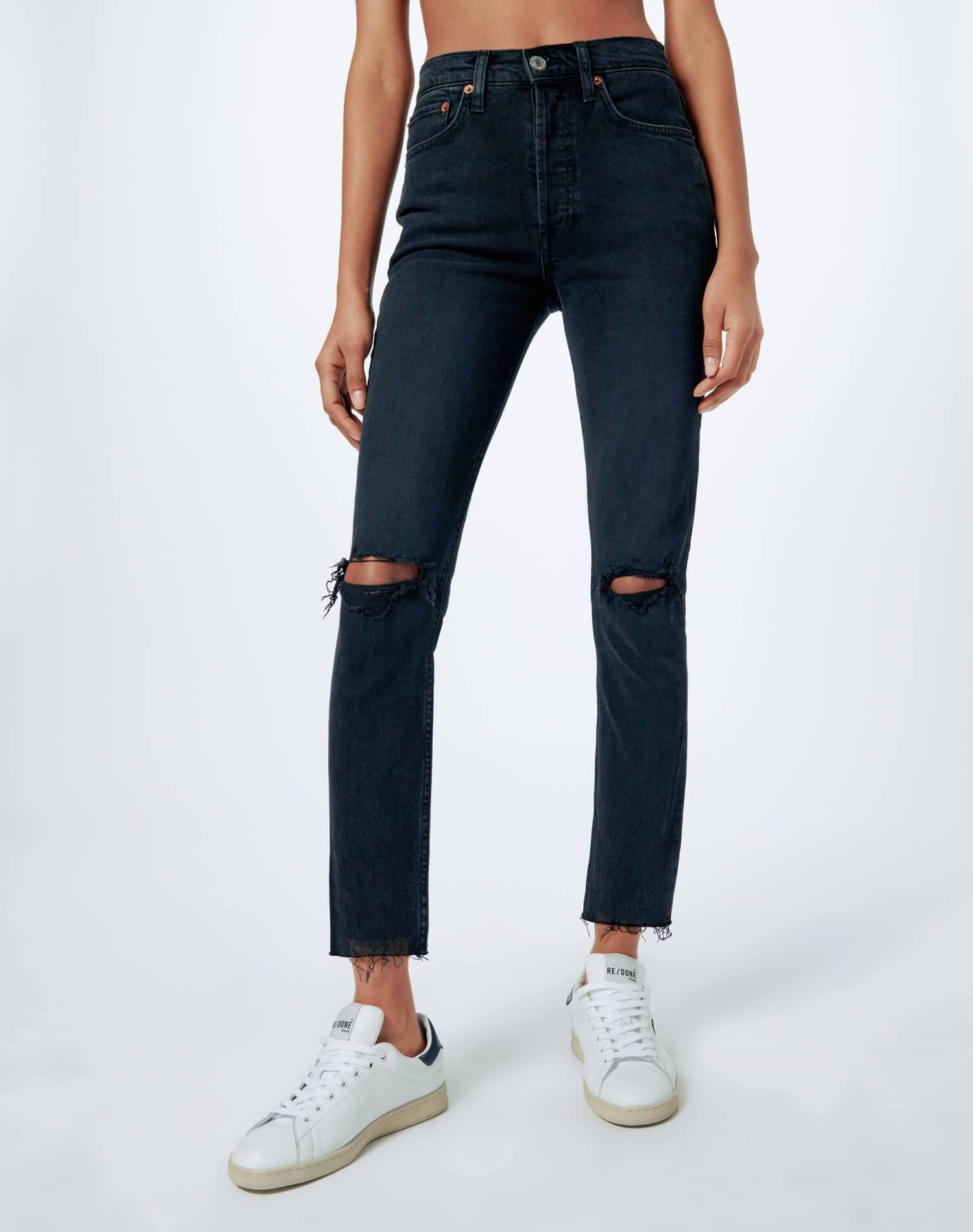Comfort Stretch High Rise Ankle Crop - Faded Black Destroy
