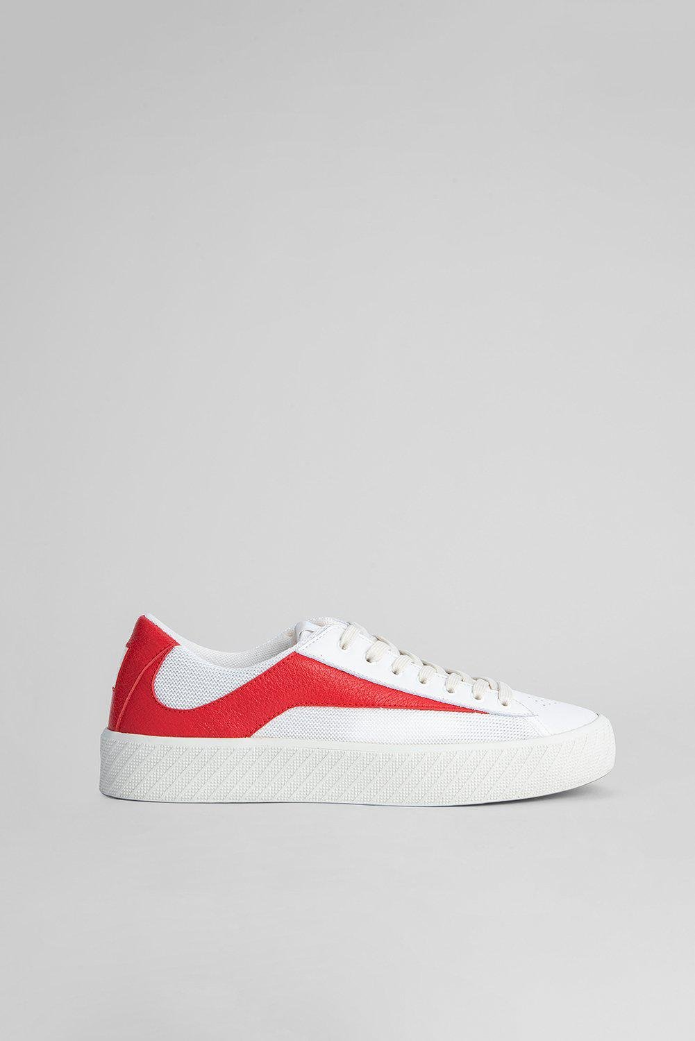 Rodina White And Red Grained Leather