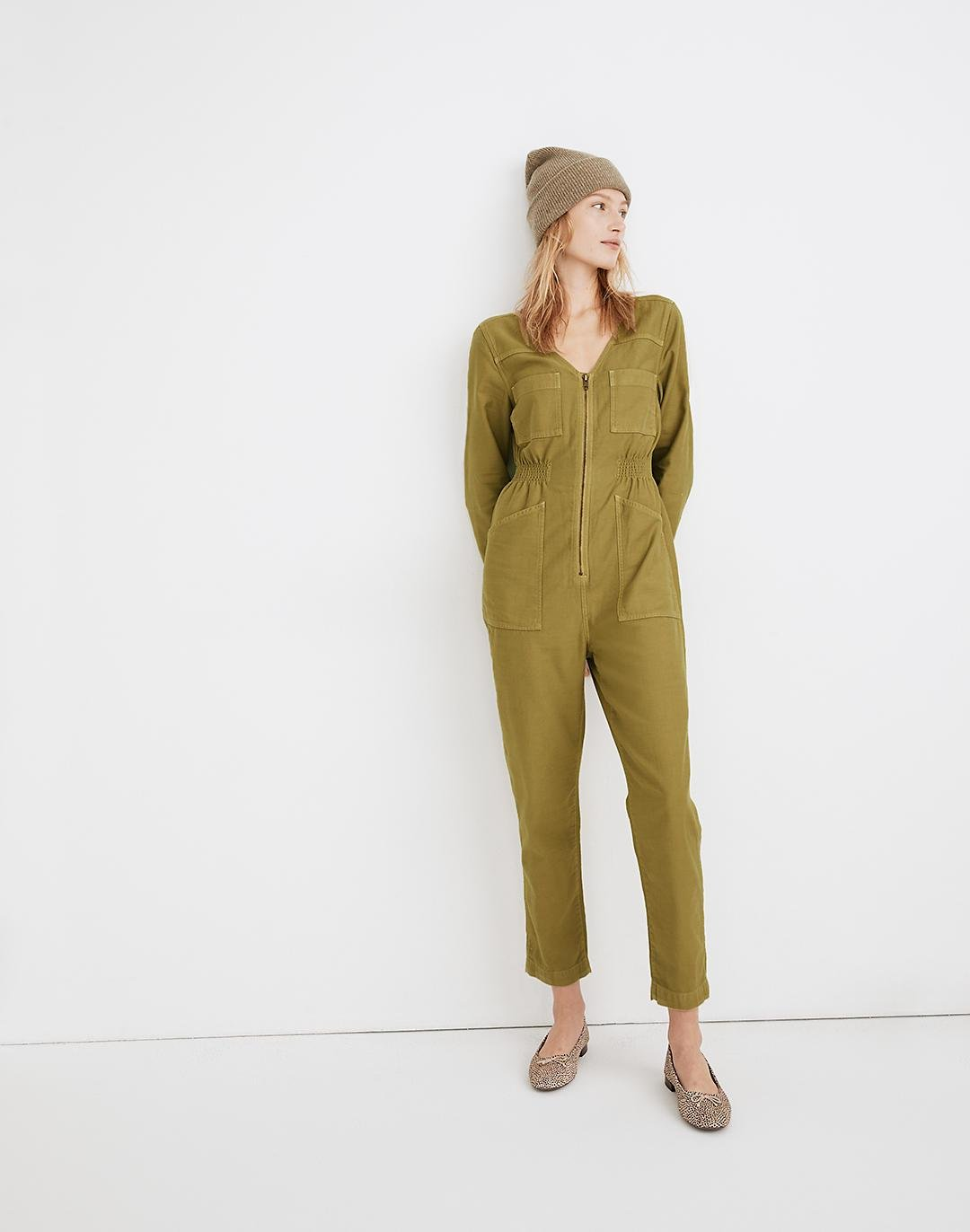 Garment-Dyed Patch Pocket Coverall Jumpsuit