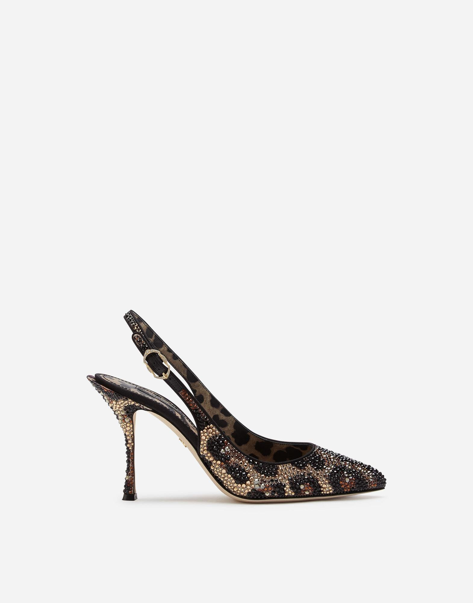 Slingbacks in satin and crystals
