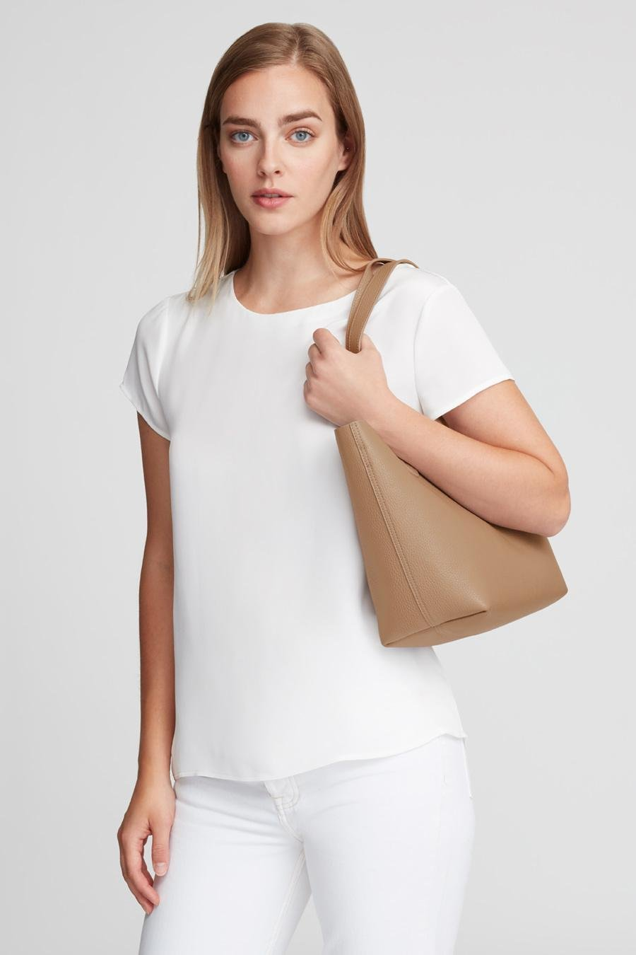 Women's Small Structured Leather Tote Bag in Cappuccino/Yellow | Pebbled Leather by Cuyana 6