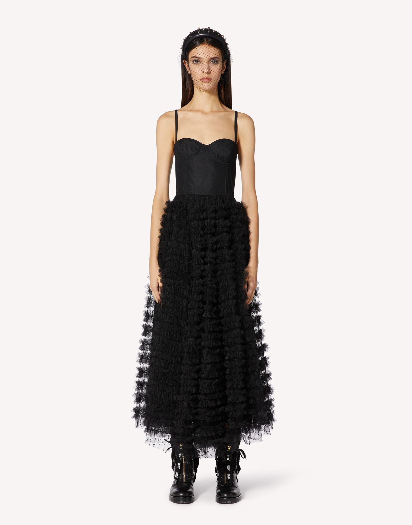 CORSET-LIKE DRESS WITH POINT D'ESPRIT TULLE RIBBONS