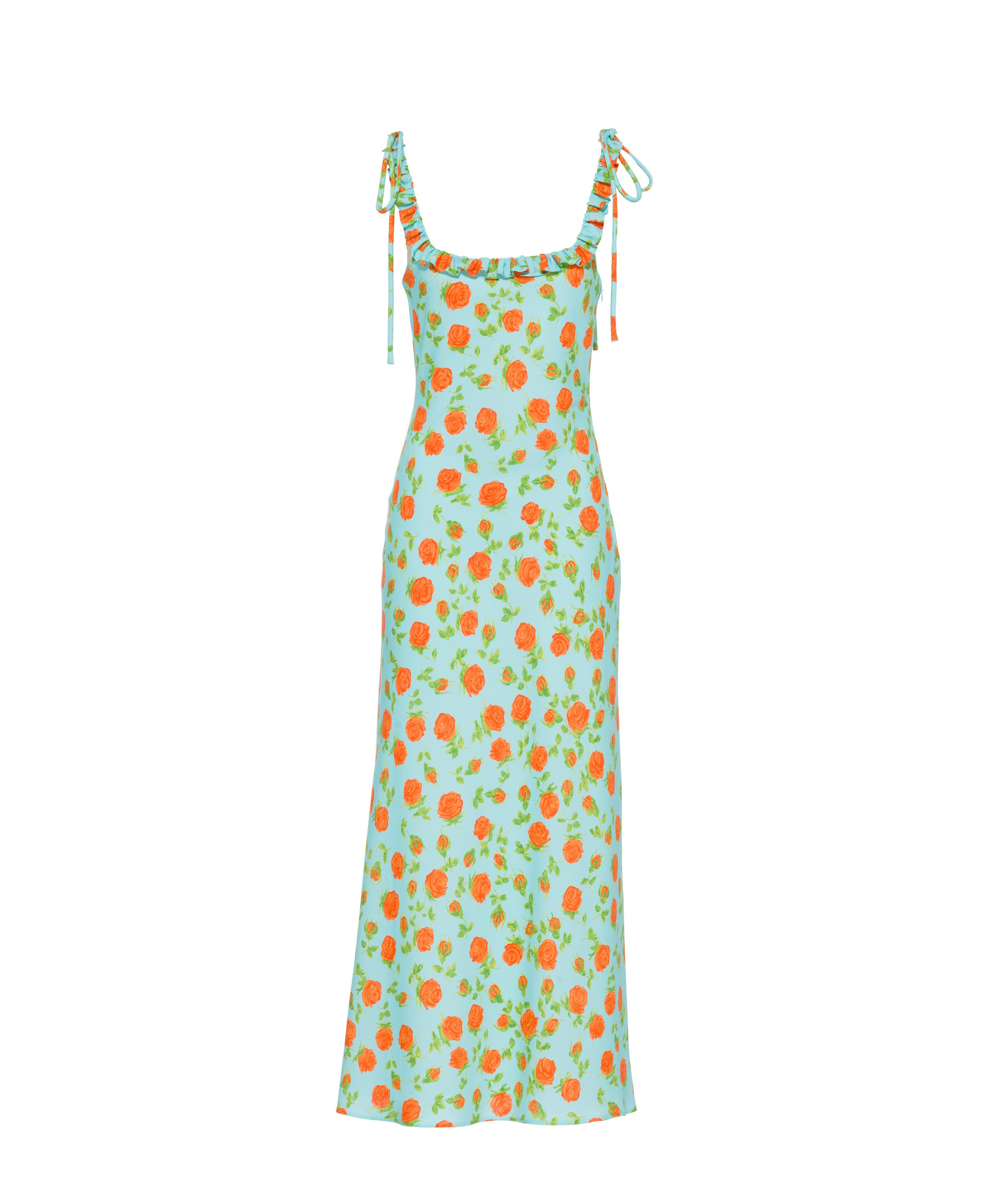 Printed Georgette Dress Women Turquoise