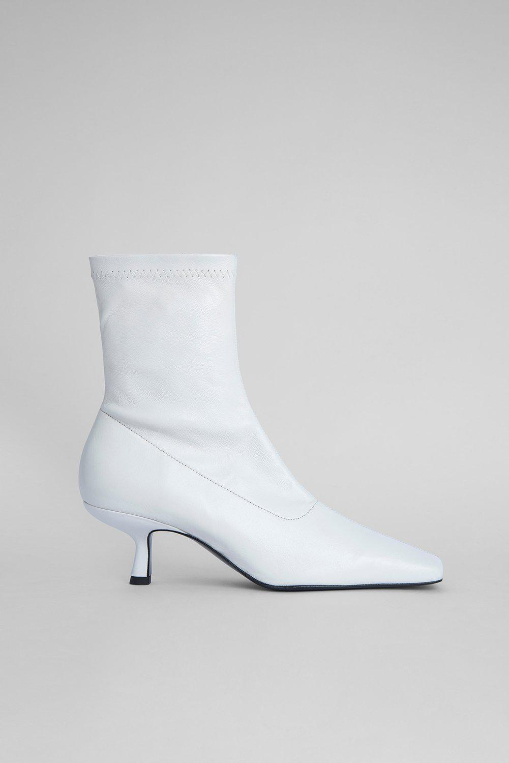 Audrey White Stretch Leather