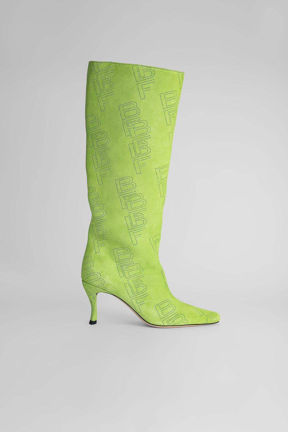 Stevie 42 Bright Green Perforated Suede Leather