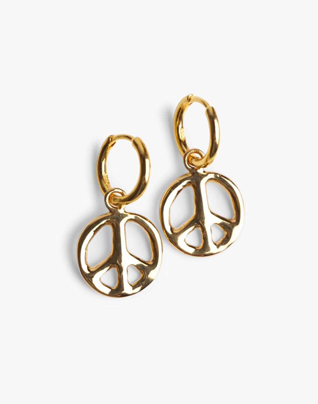 Charlotte Cauwe Studio 1969 Peace Sign Hoops in Gold