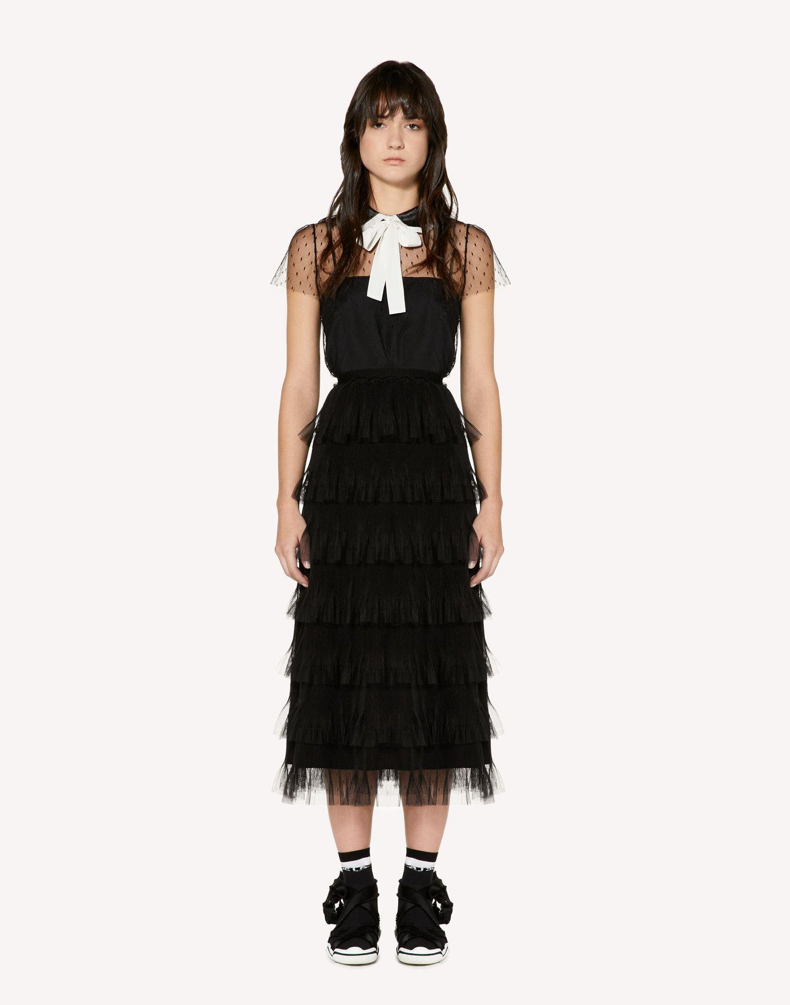 POINT D'ESPRIT TULLE TOP WITH ROUNDED COLLAR AND BOW