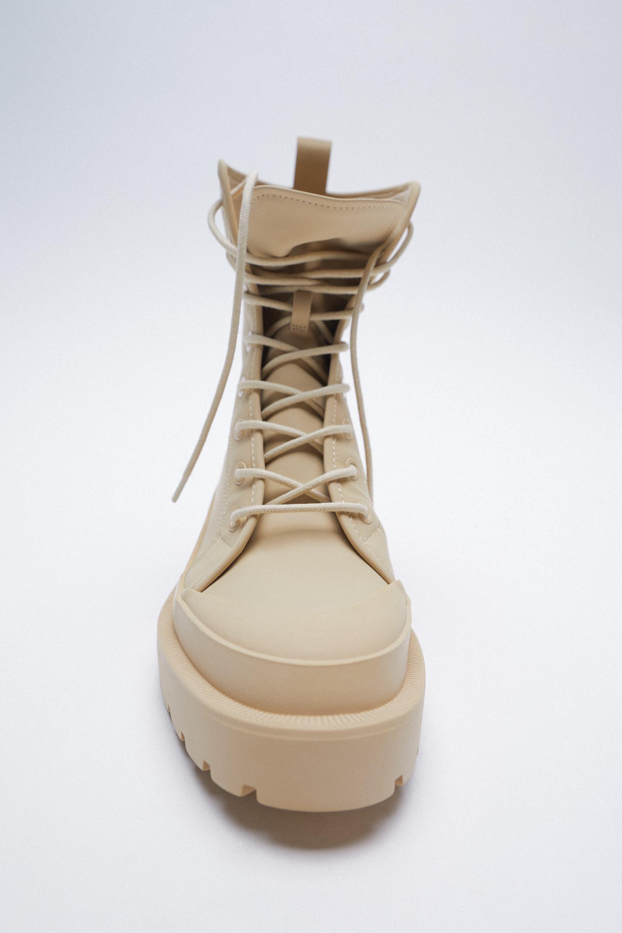 RUBBERIZED LOW HEEL LACE-UP ANKLE BOOTS 5