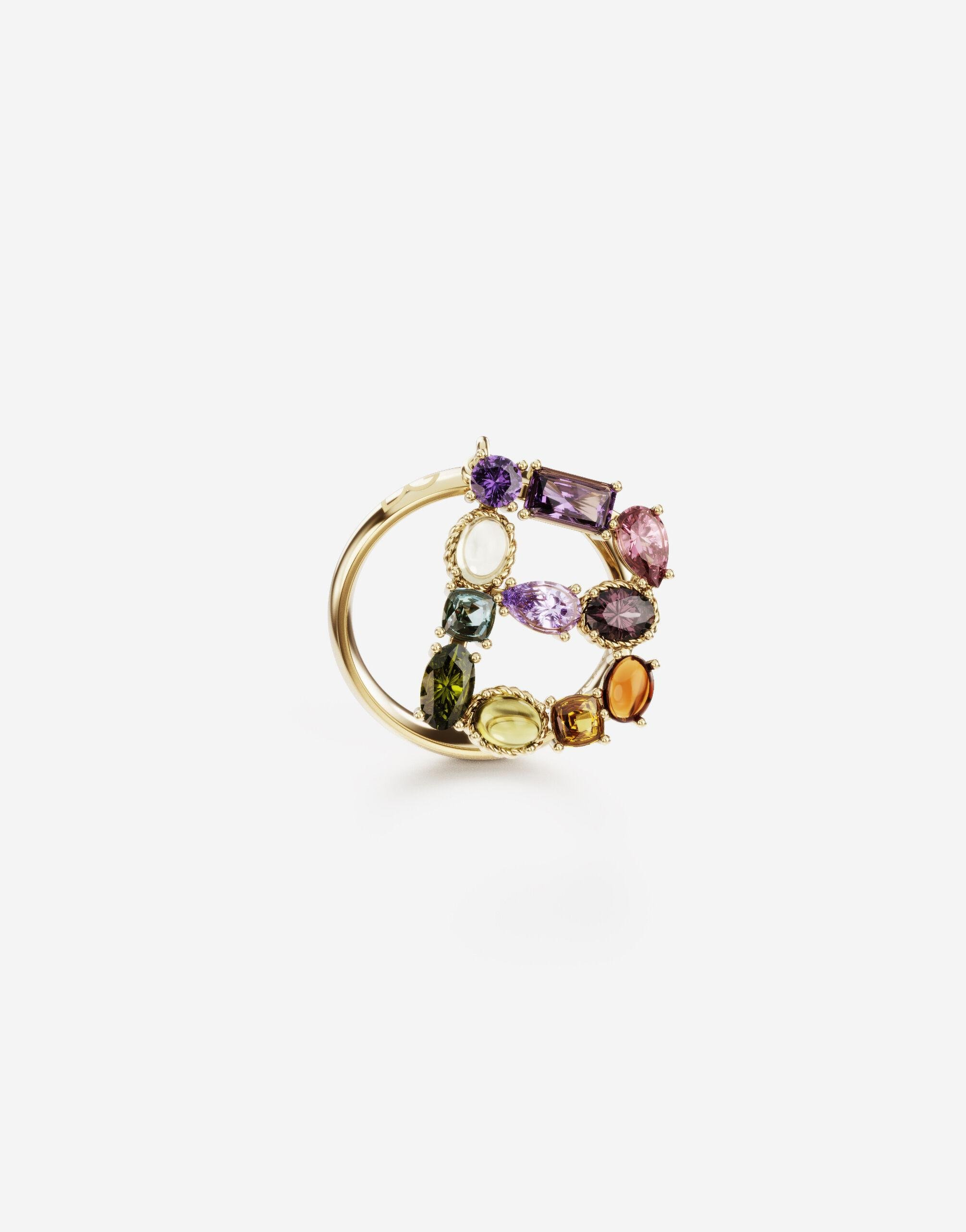 Rainbow alphabet B ring in yellow gold with multicolor fine gems