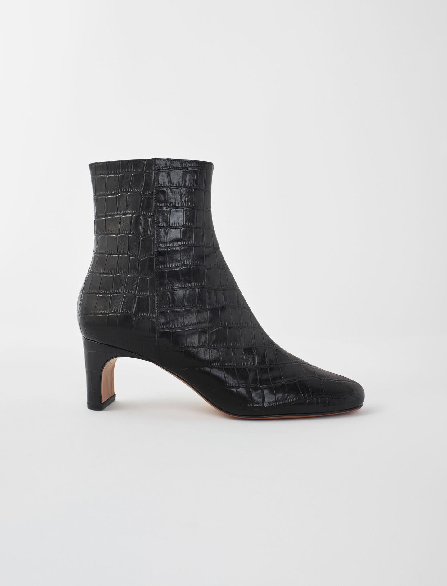 CROC-EFFECT EMBOSSED LEATHER BOOTS