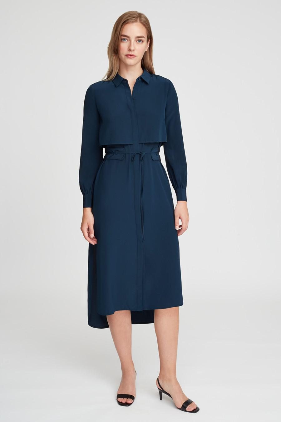 Women's Silk High-Low Shirt Dress in Navy   Size: Large   3 Ply Crepe Silk by Cuyana 2