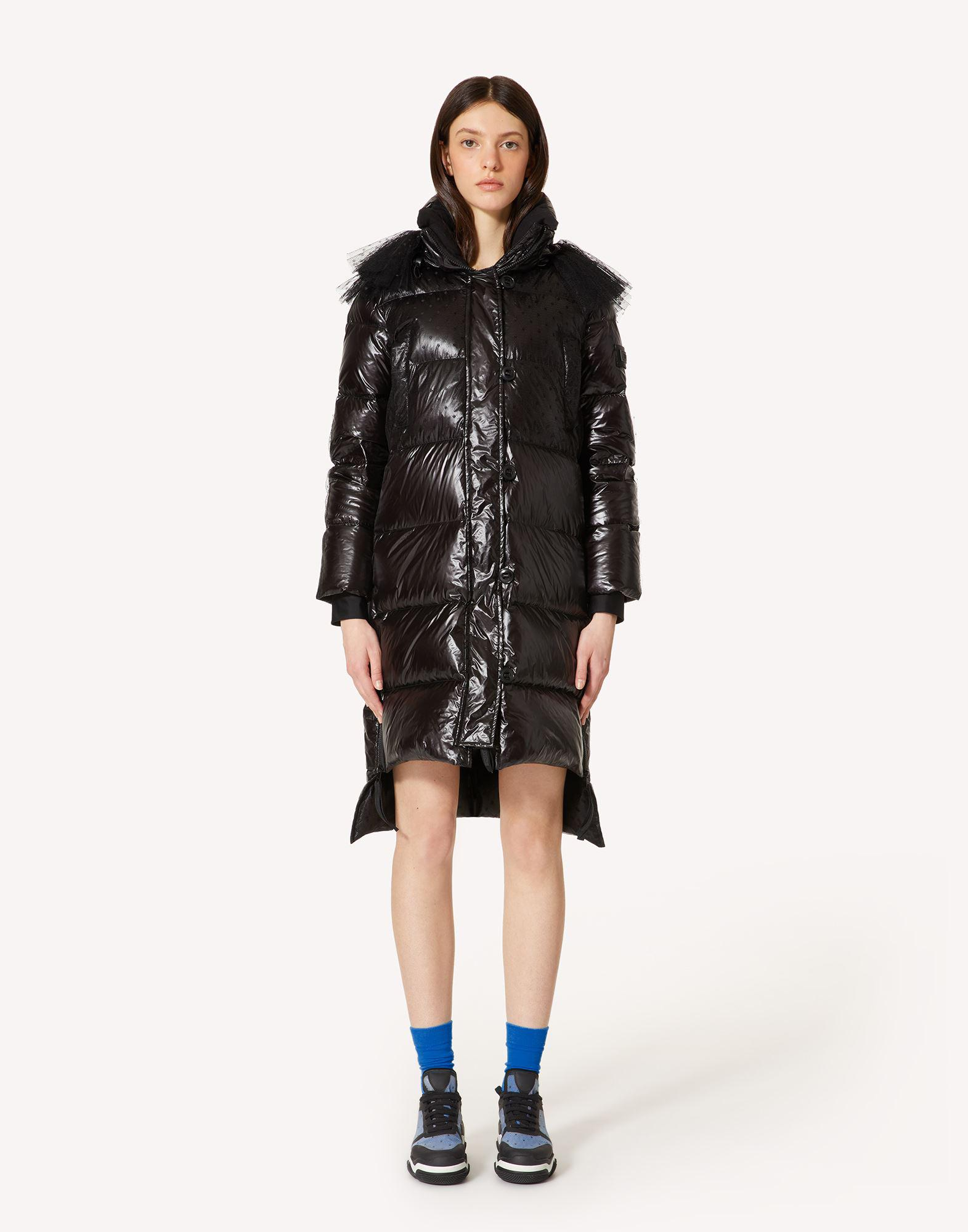 NYLON AND POINT D'ESPRIT TULLE DOWN JACKET