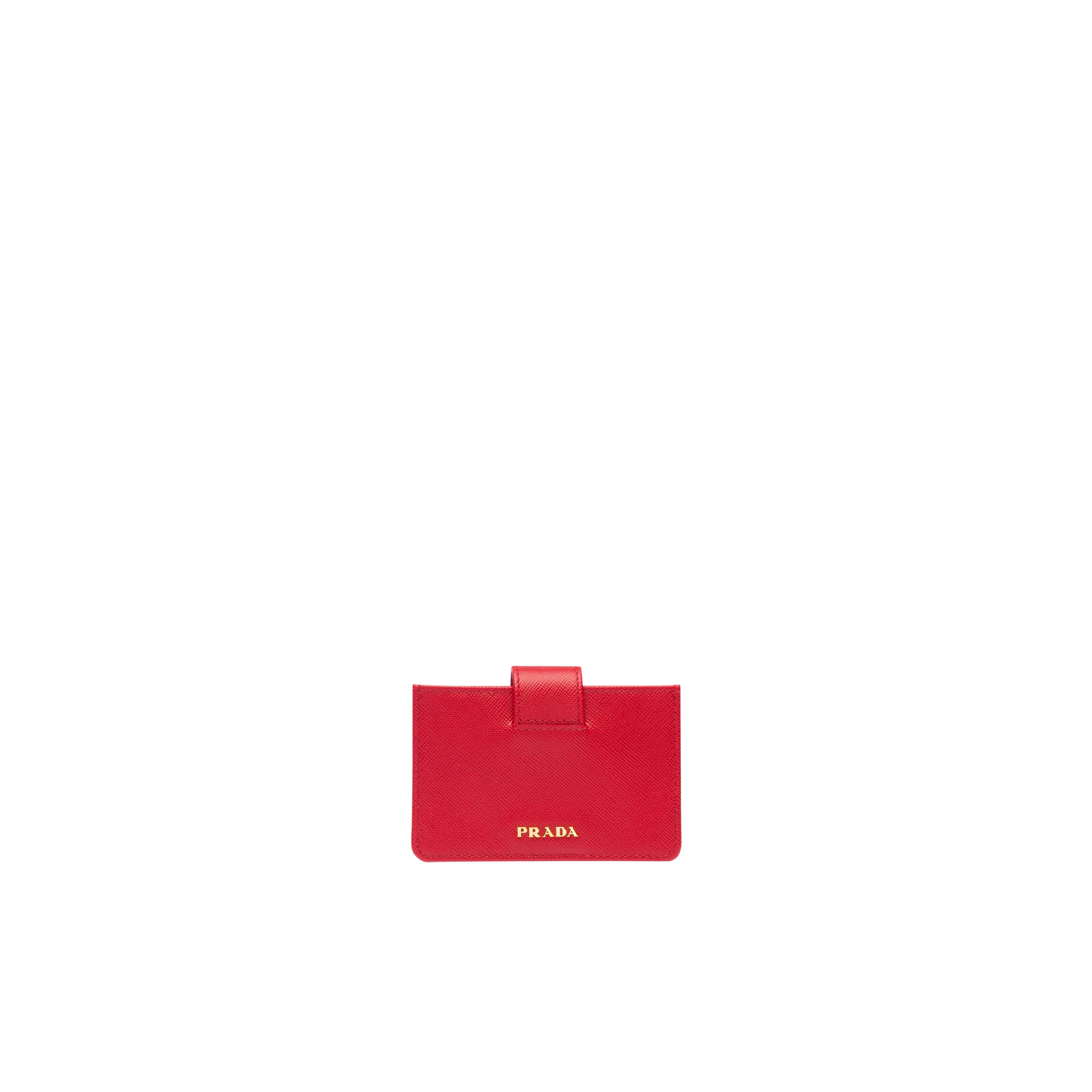 Saffiano Leather Card Holder Women Fiery Red 2