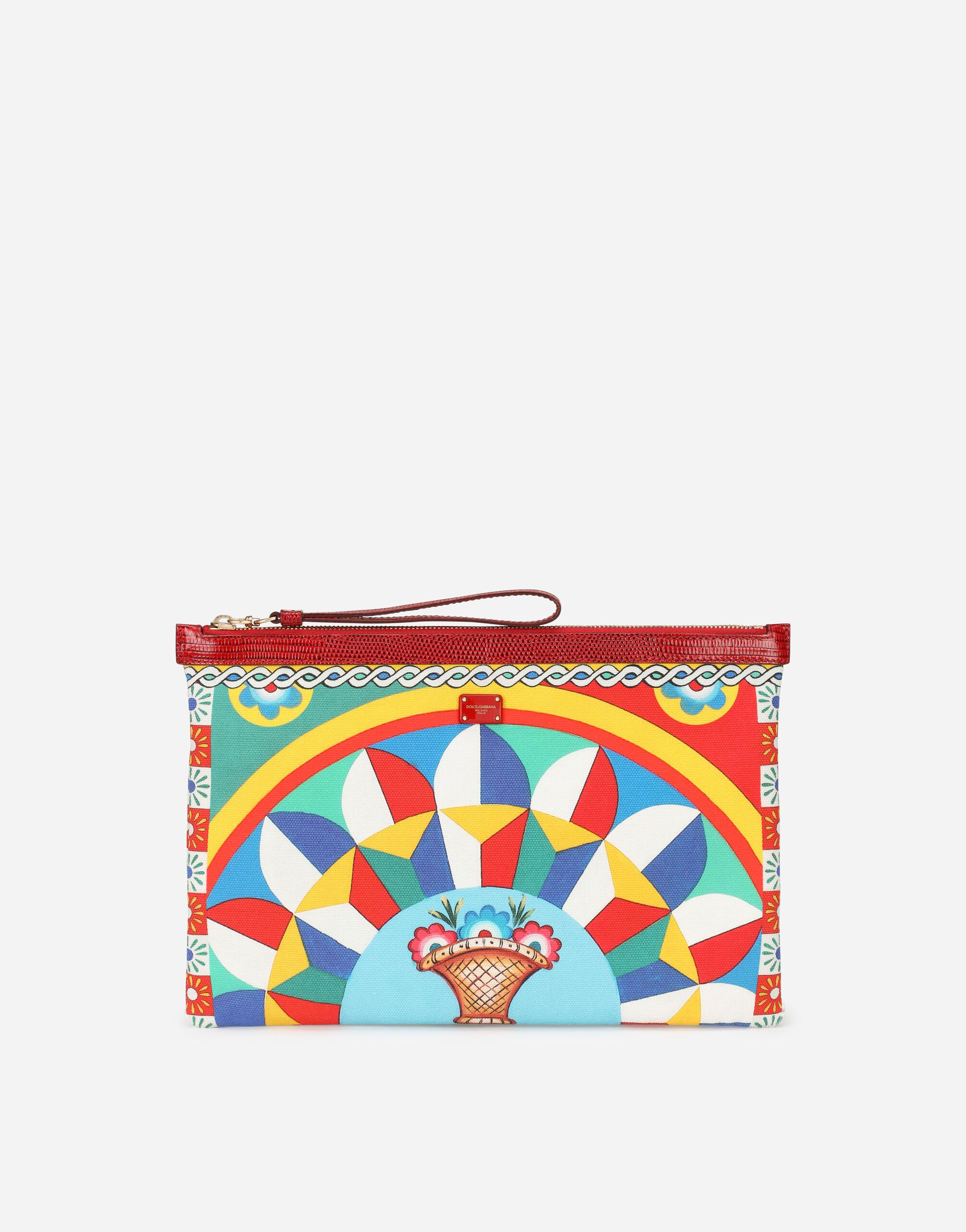 Flat canvas make-up bag with Carretto print