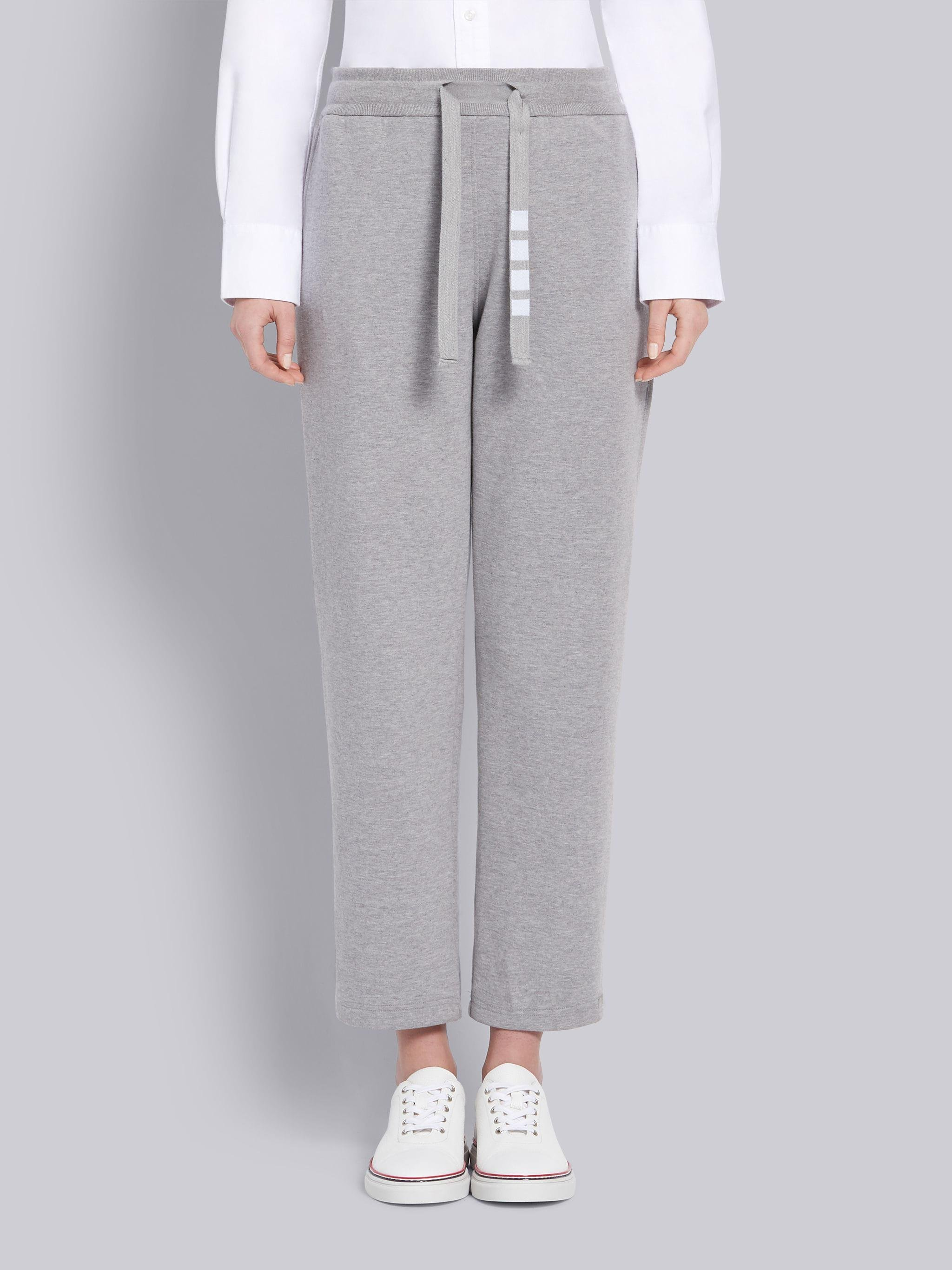 Light Grey Compact Double Knit Cotton 4-Bar Drawcord Sweatpants