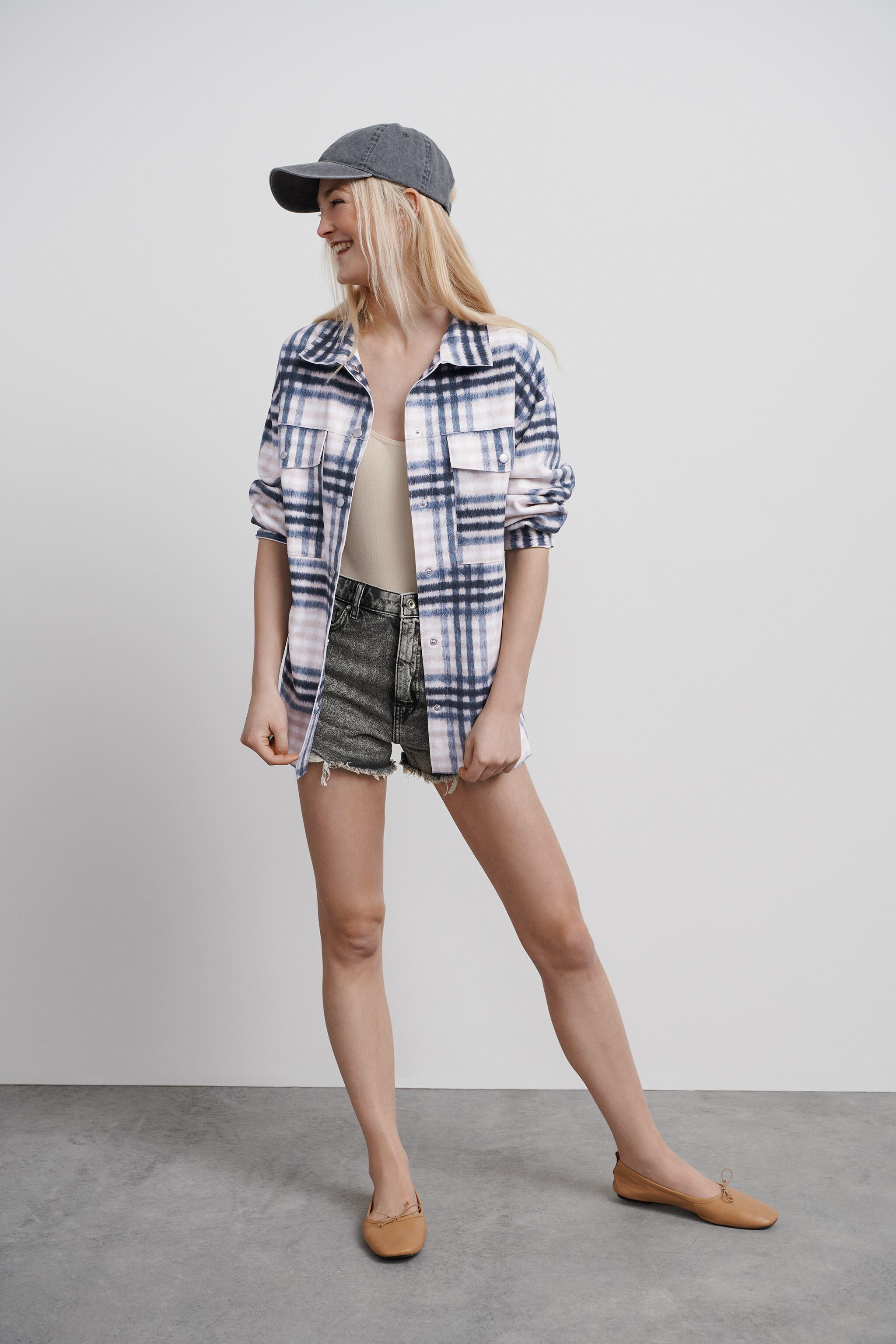 FAUX SUEDE PLAID OVERSHIRT