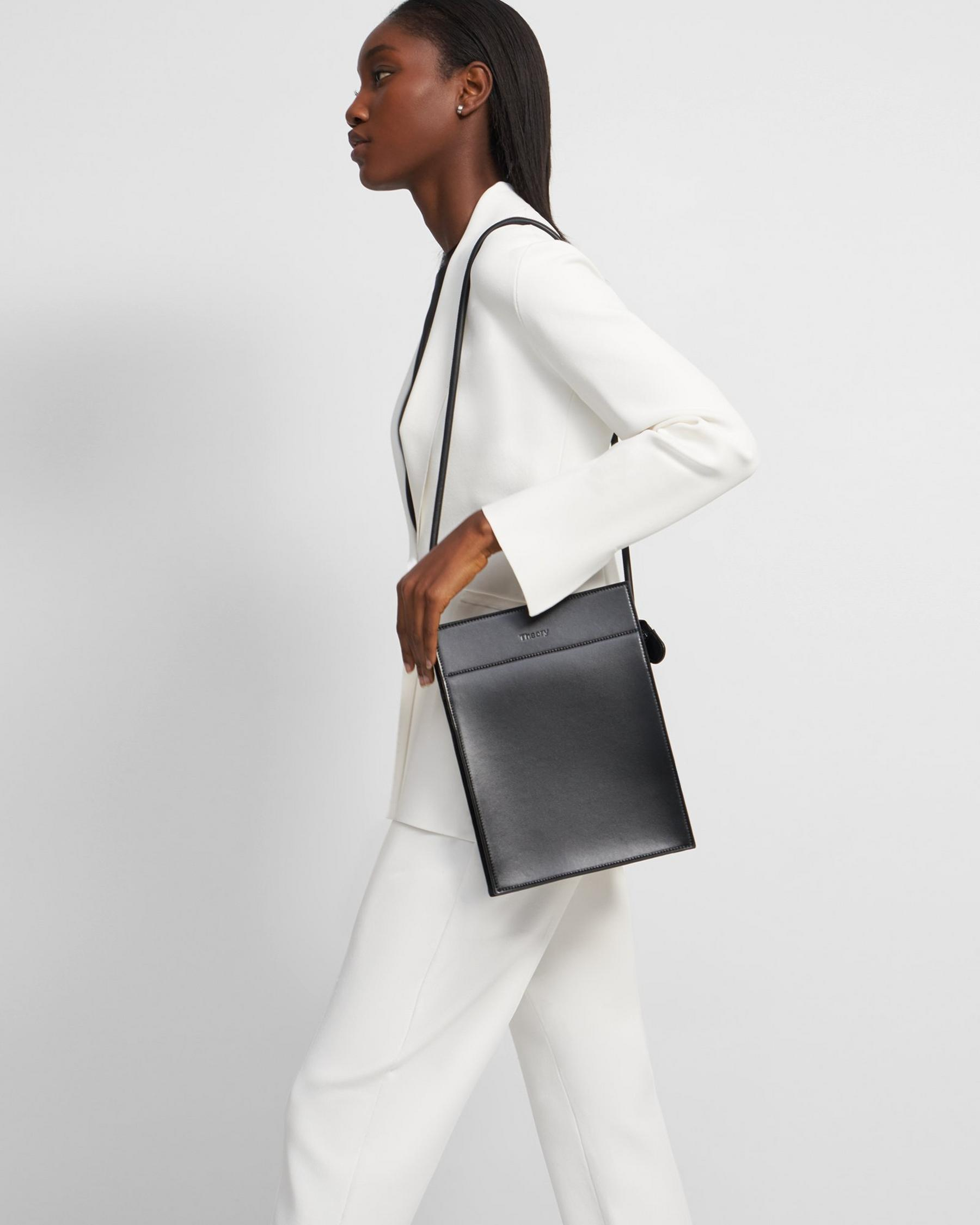 Flat North-South Bag in Leather