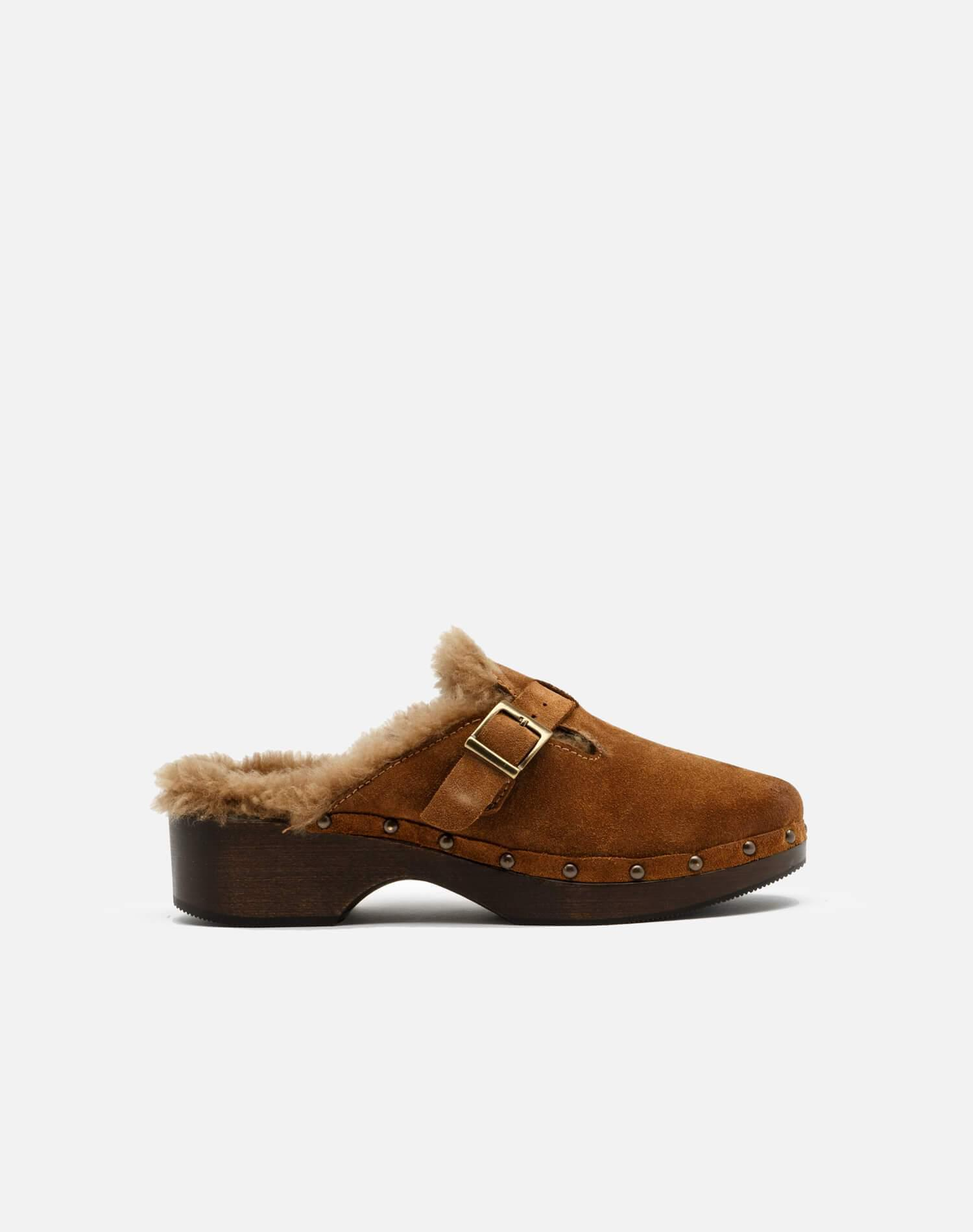 70s Shearling Clog - Cognac Suede and Shearling