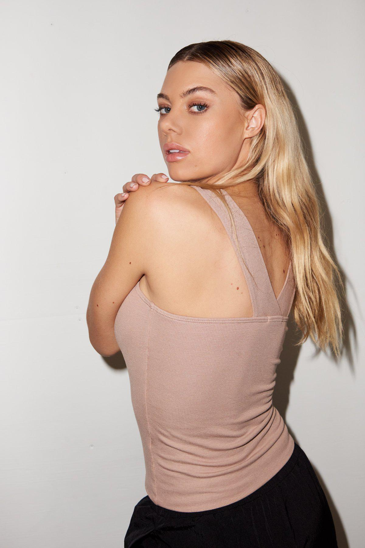 Ribbed Nel Tank - Nude
